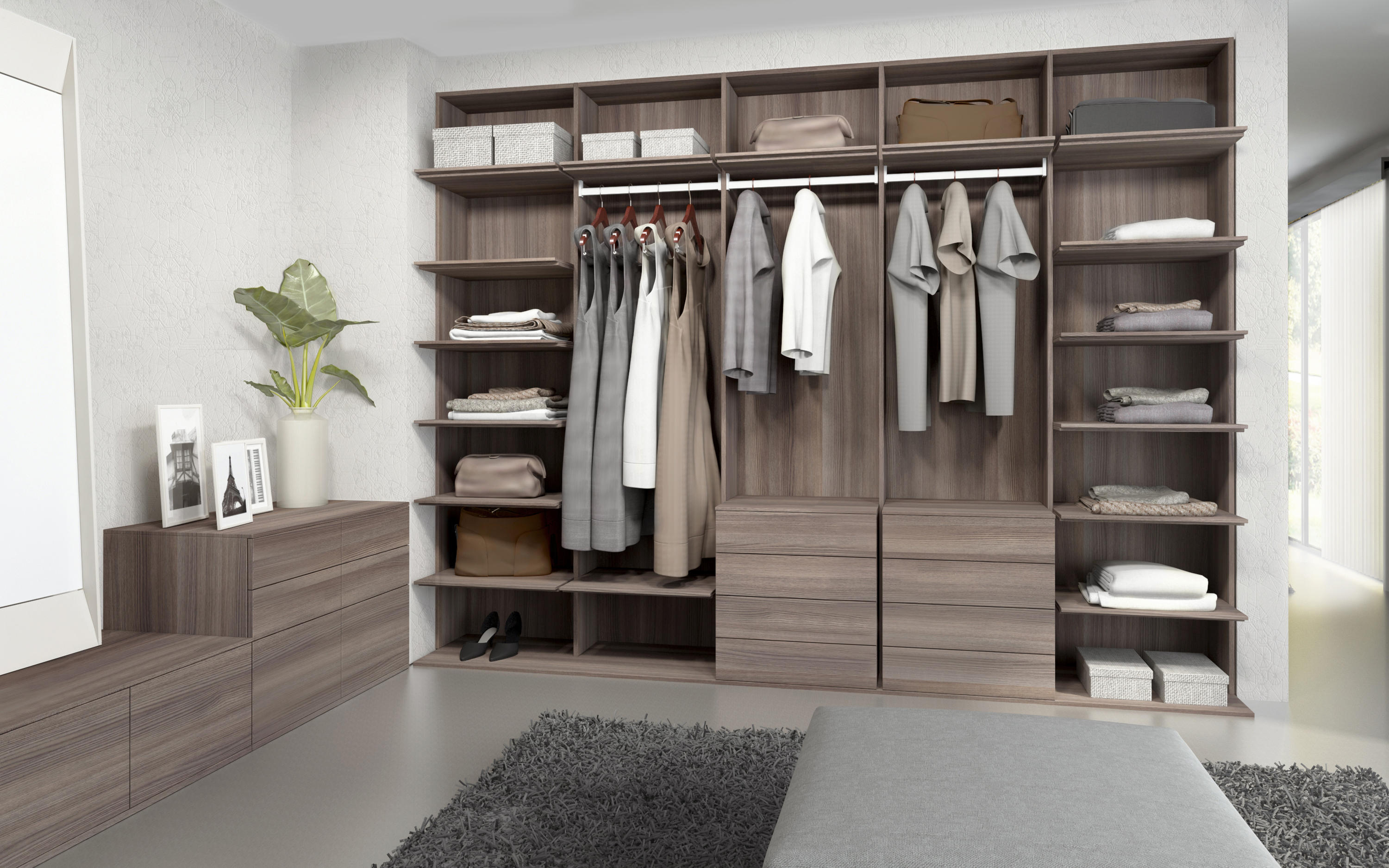 Walk in closets elm chocolate built in cupboards from for Closet juveniles modernos