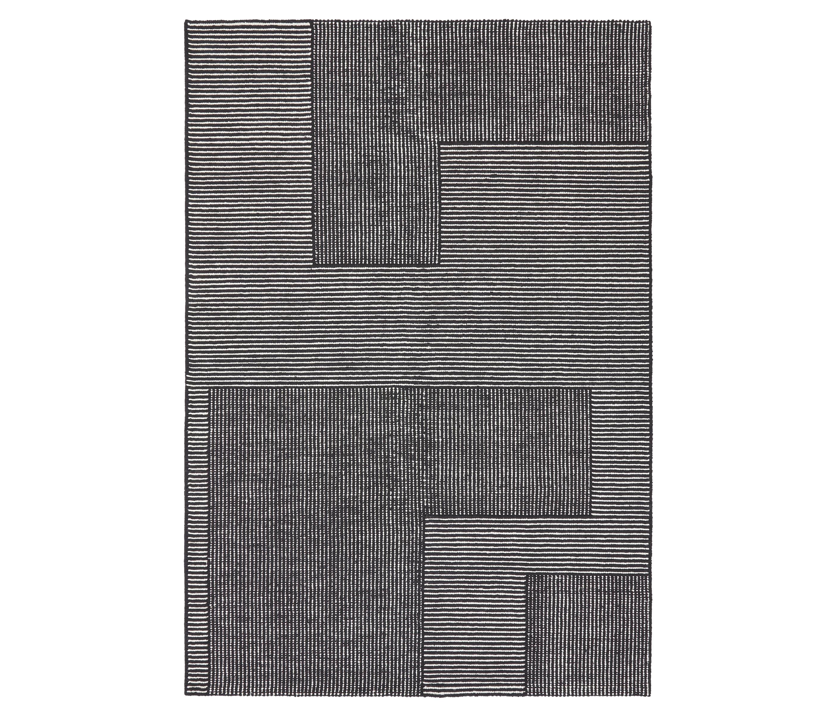 stripe rug black and white