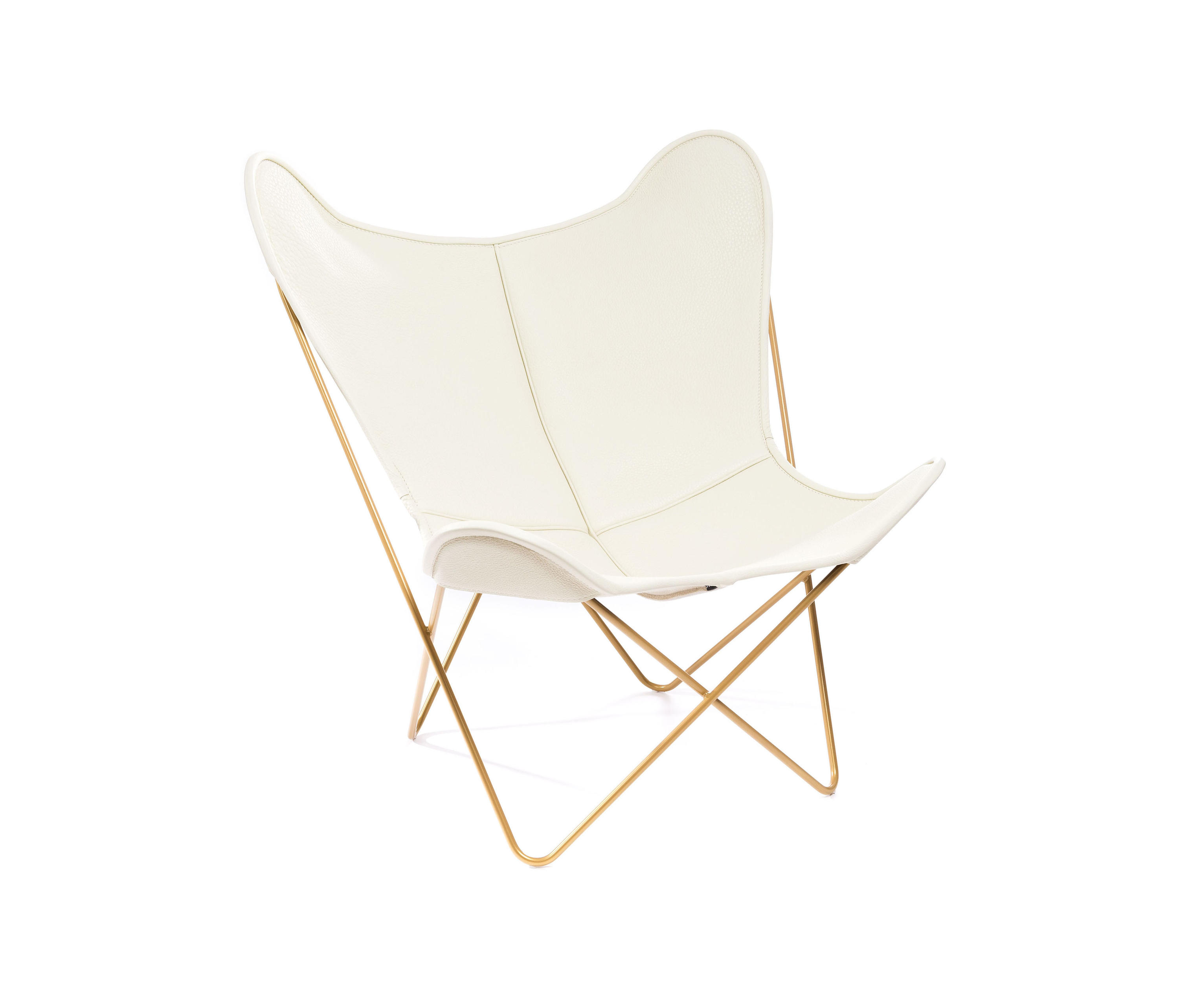 HARDOY BUTTERFLY CHAIR NECK LEDER ELFENBEIN GOLD Lounge chairs