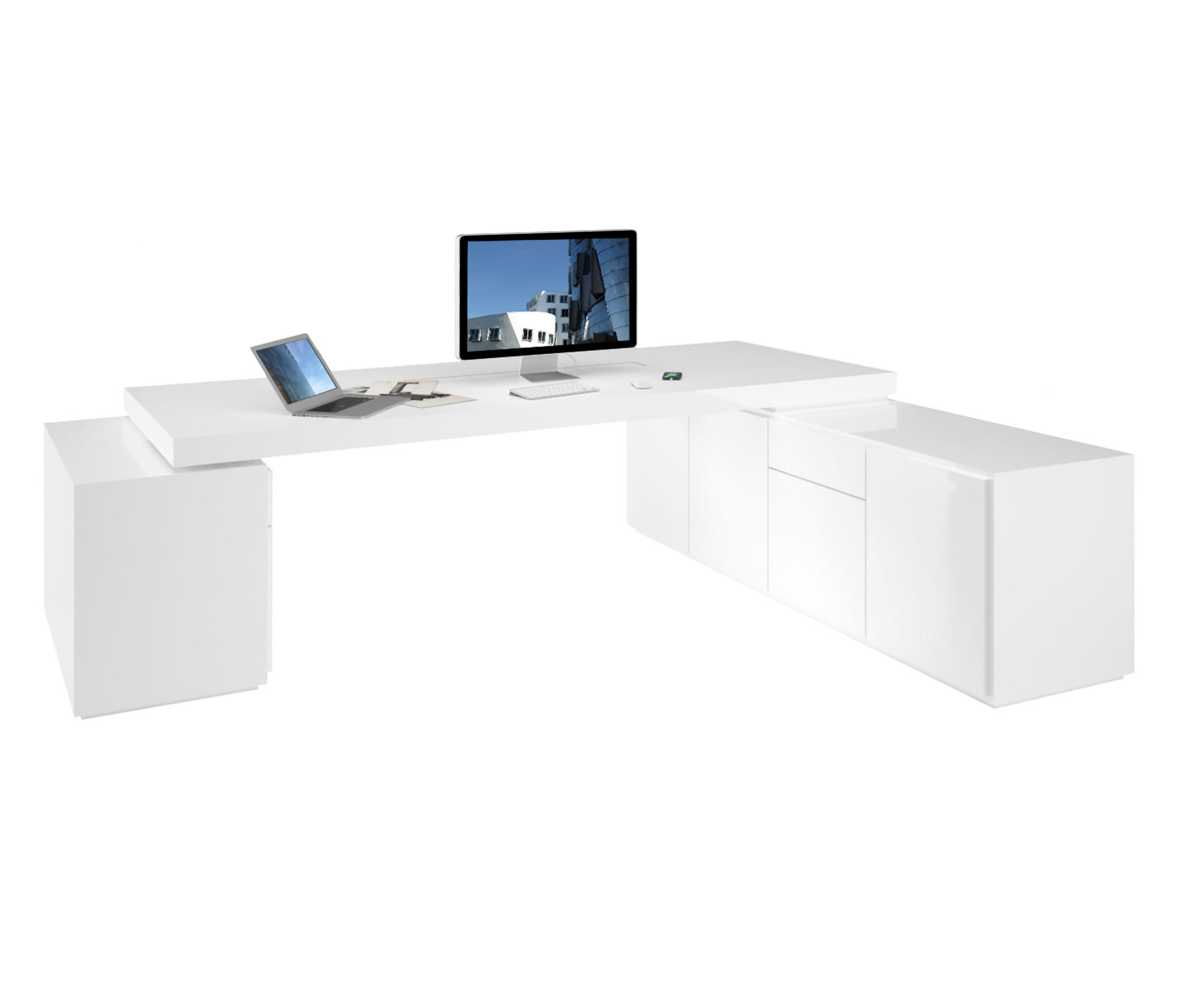 Eckschreibtisch weiß design  PRAEFECTUS EXECUTIVE OFFICE DESK WITH 2 SIDEBOARDS - Individual ...