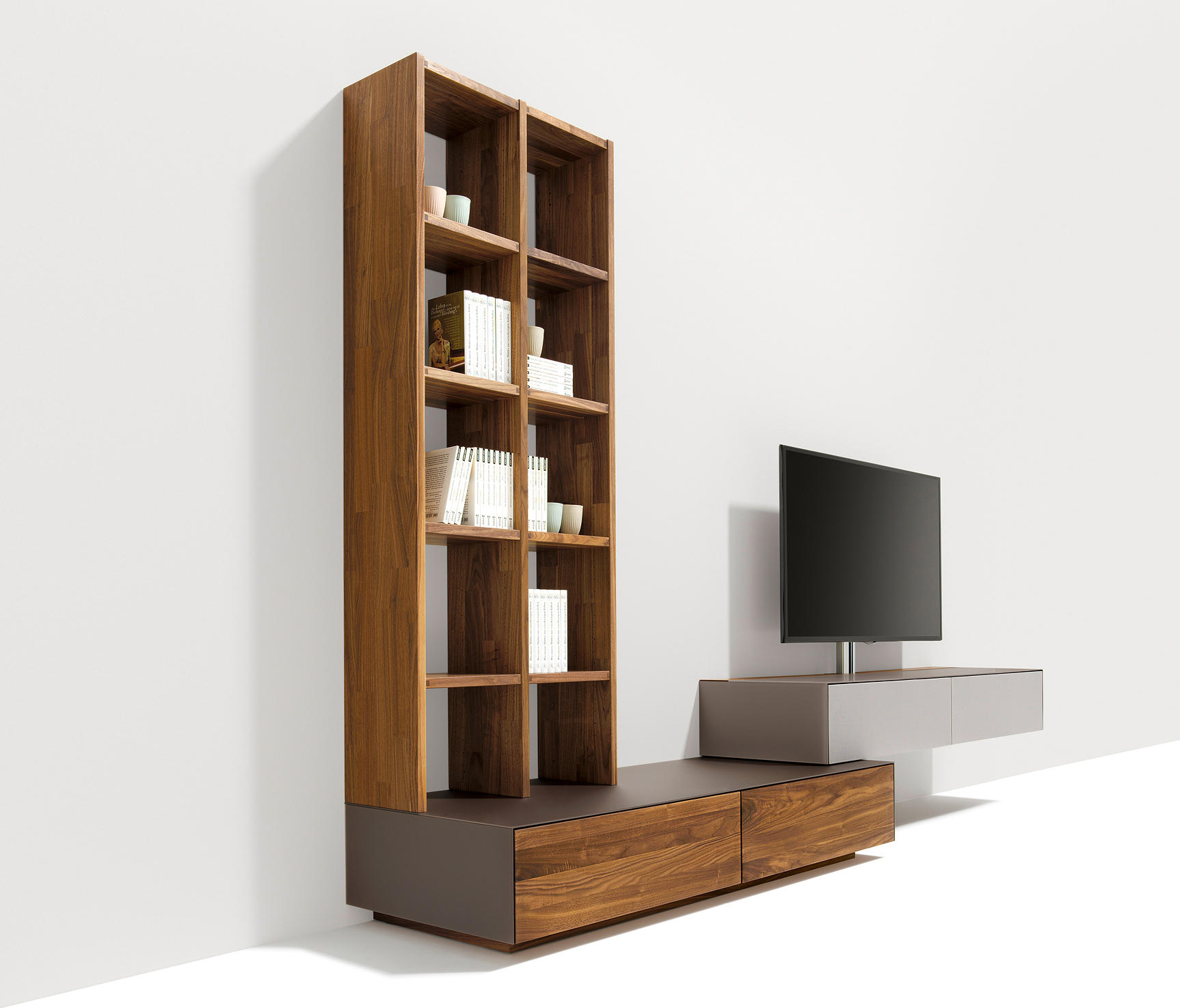 cubus pure wall storage system conjuntos de sal n de team 7 architonic. Black Bedroom Furniture Sets. Home Design Ideas