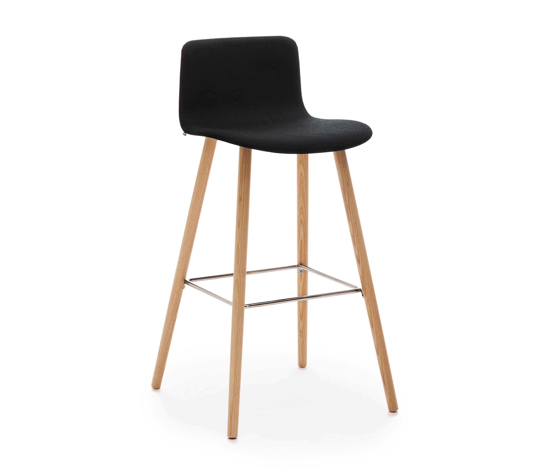 Sola Barstool Wooden Base Upholstered Low Backrest Bar