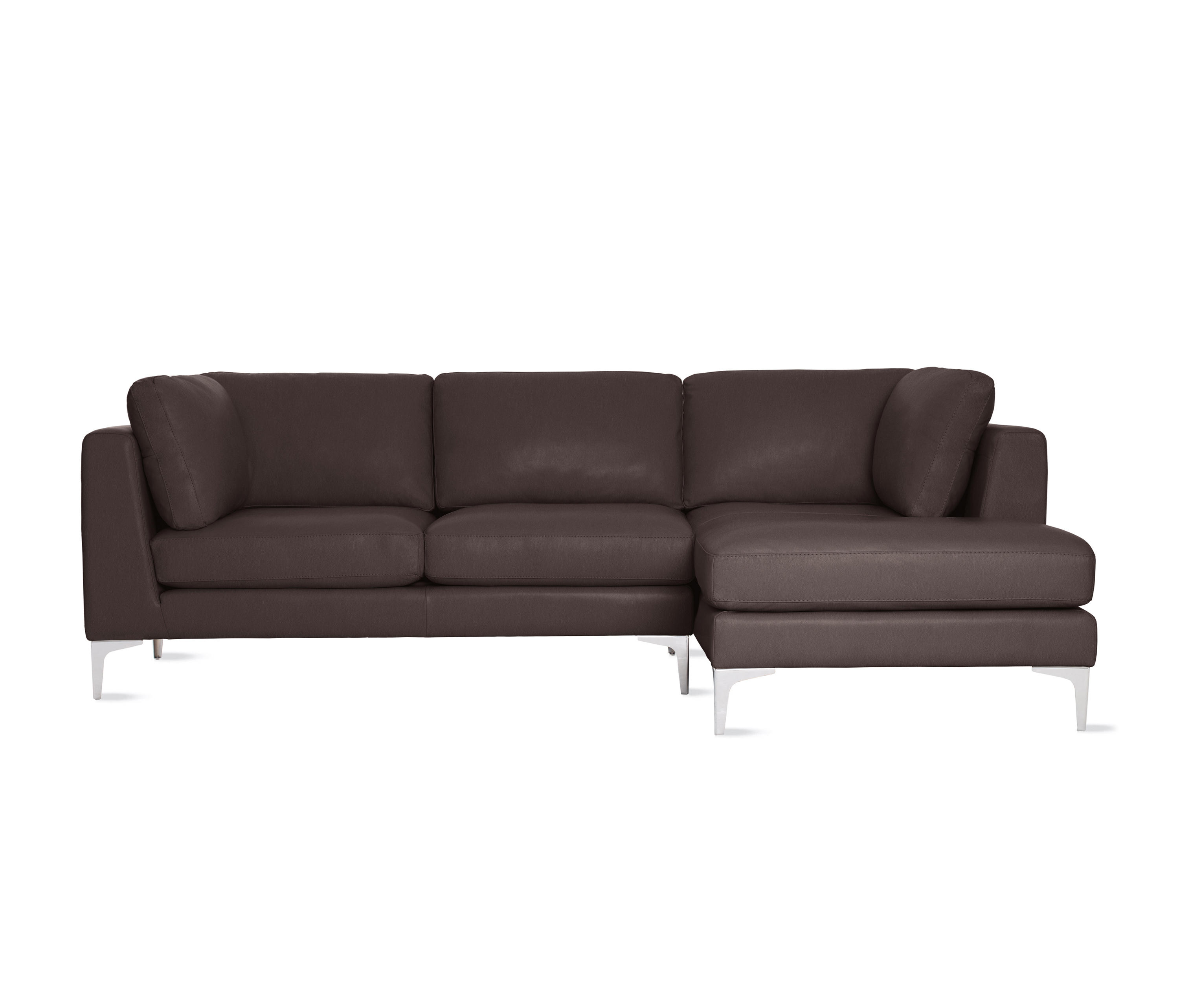 Albert Sectional Chaise Right In Leather Modular Sofa