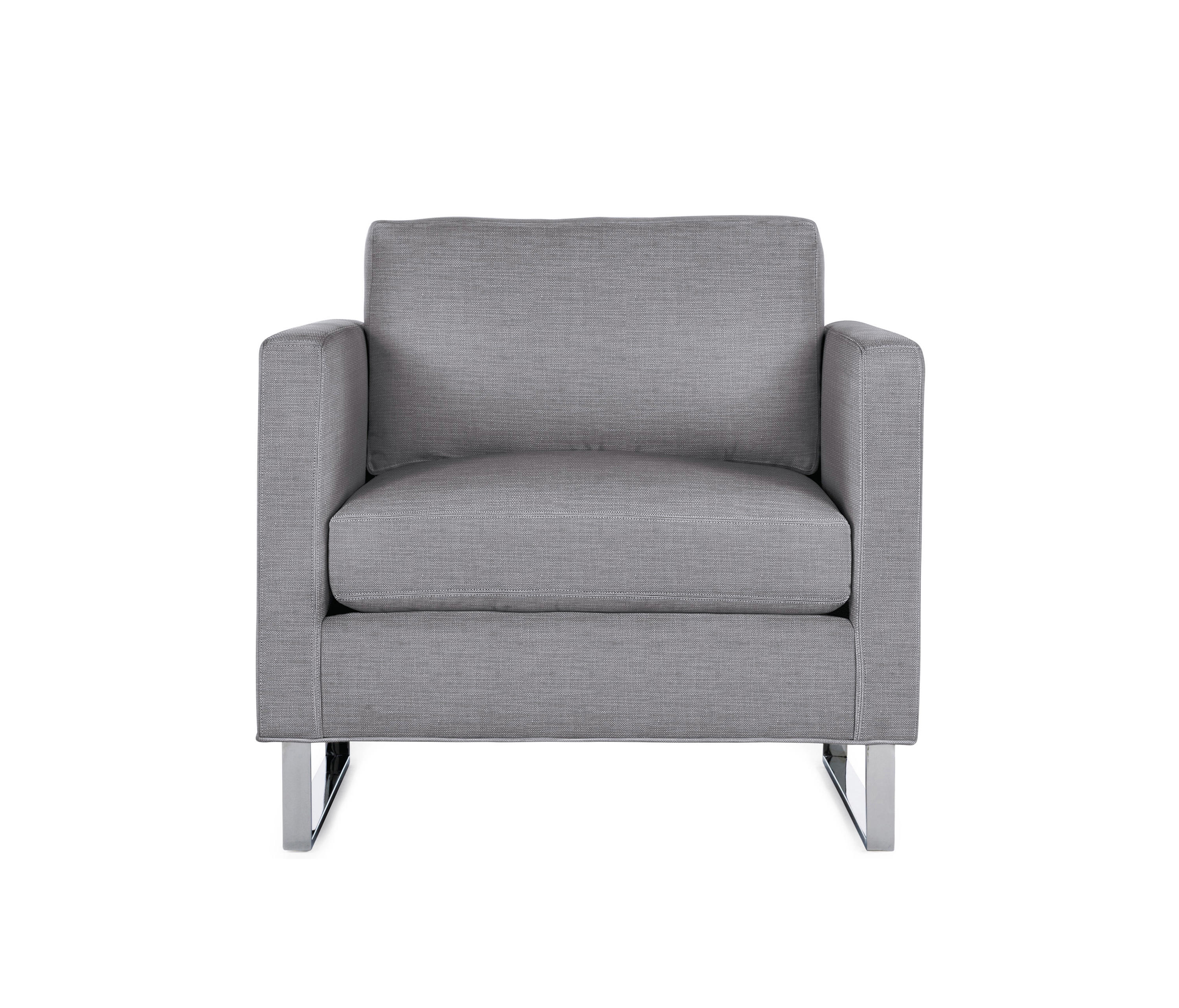 Goodland armchair in fabric stainless legs armchairs for Armchair builder