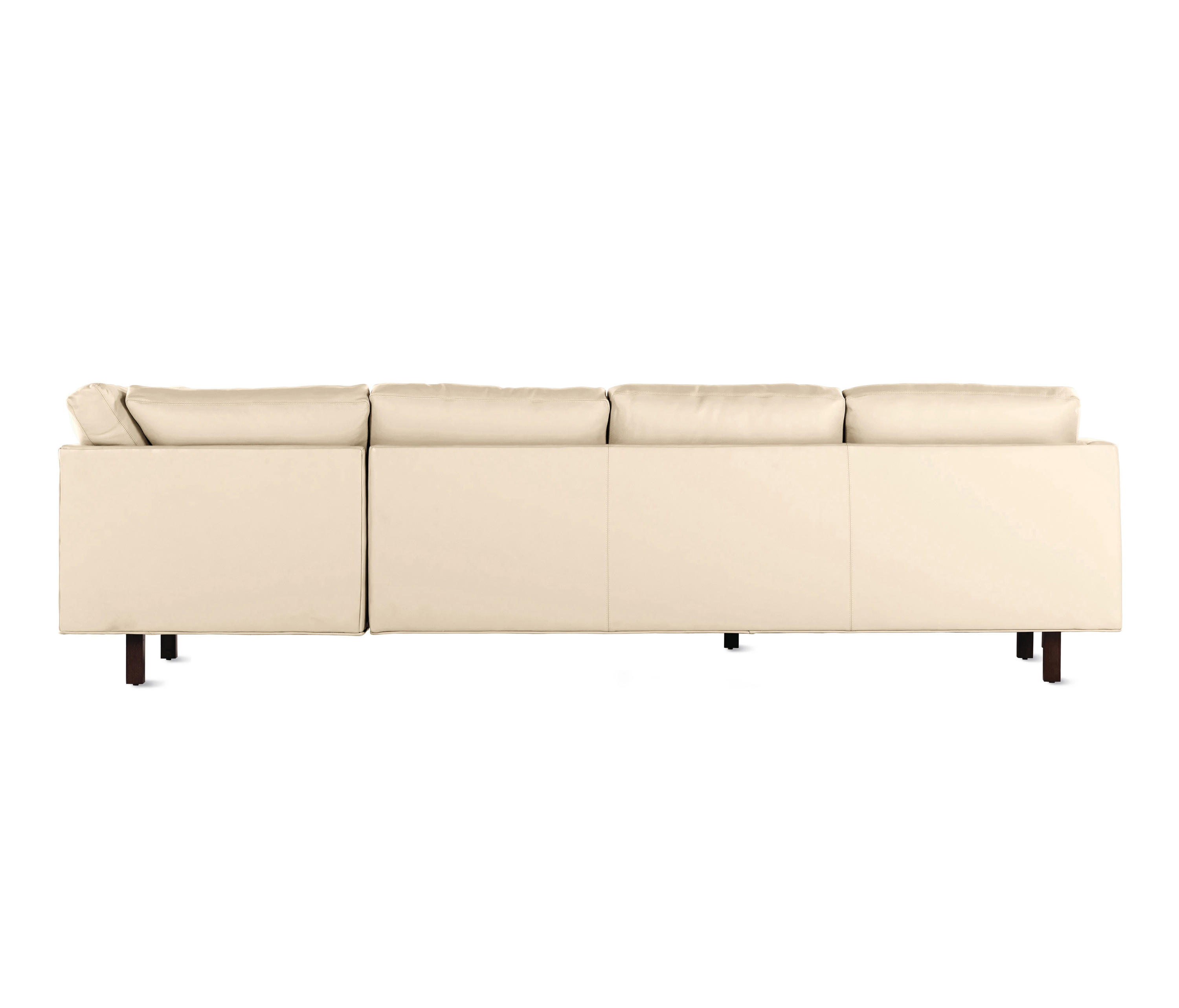 GOODLAND LARGE SECTIONAL IN LEATHER, LEFT, WALNUT LEGS