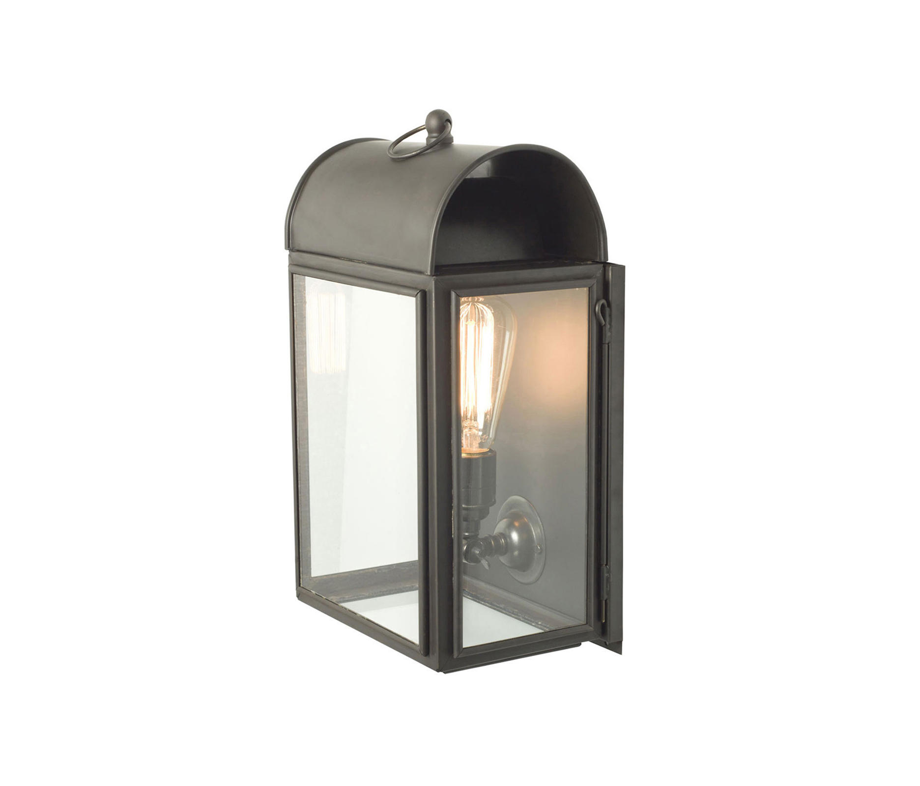 Glass Box Wall Lights : 7250 DOMED BOX WALL LIGHT, WEATHERED BRASS, CLEAR GLASS - General lighting from Davey Lighting..