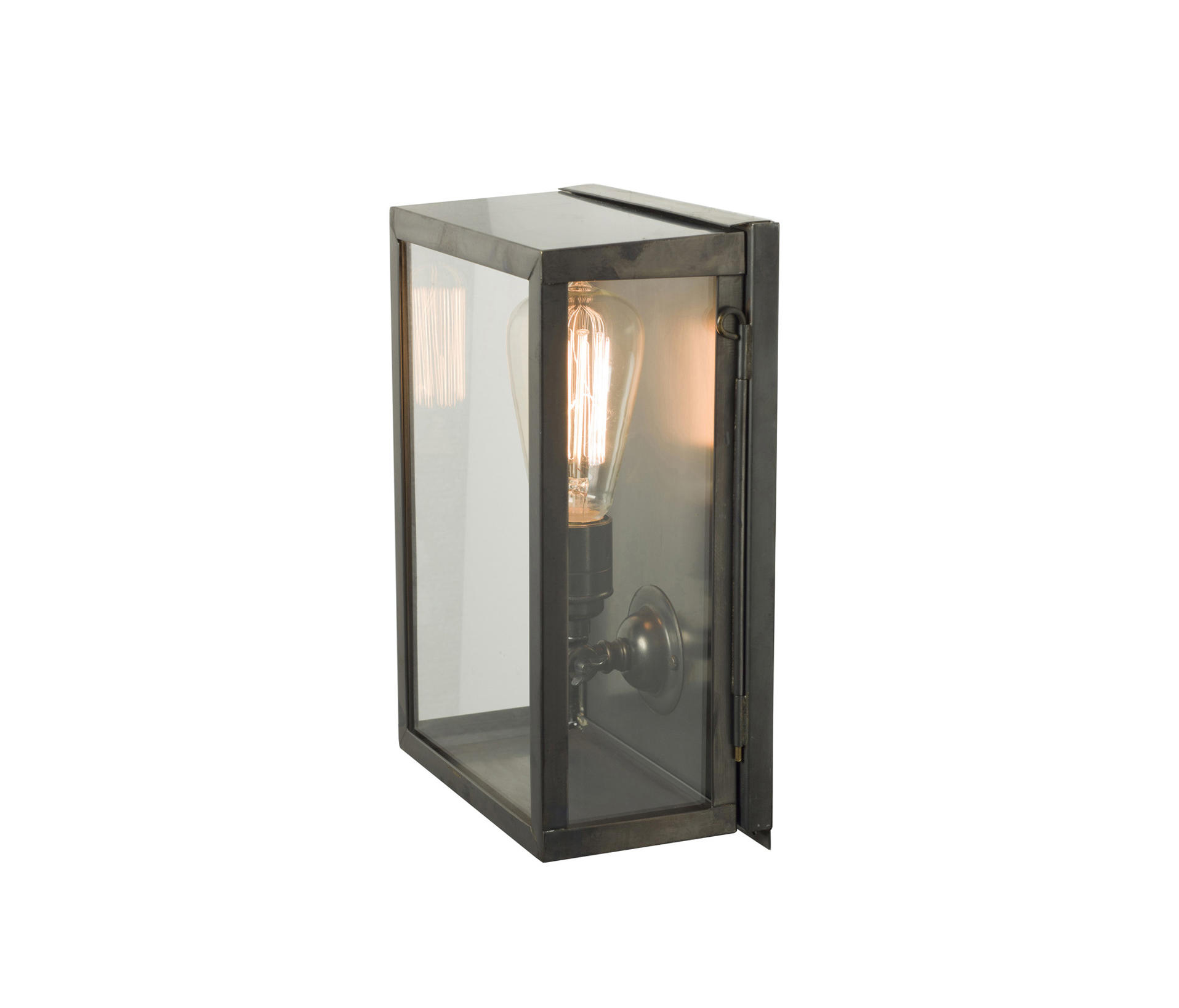 Glass Box Wall Lights : 7644 BOX WALL LIGHT, INTERNAL GLASS, SMALL, WEATHERED BRASS, CLEAR GLASS - General lighting from..
