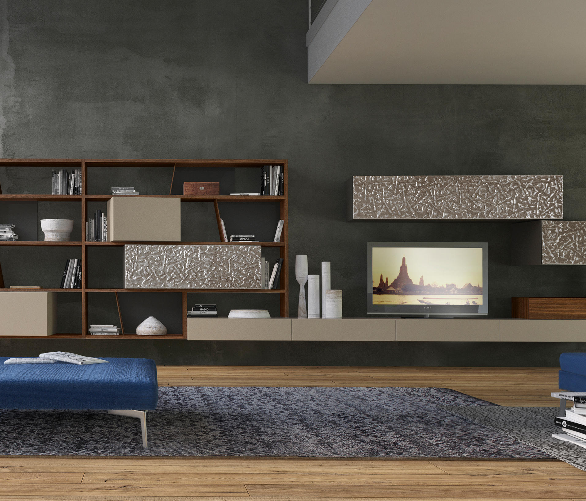 Crossart arrangement wall storage systems from presotto for Presotto pareti attrezzate