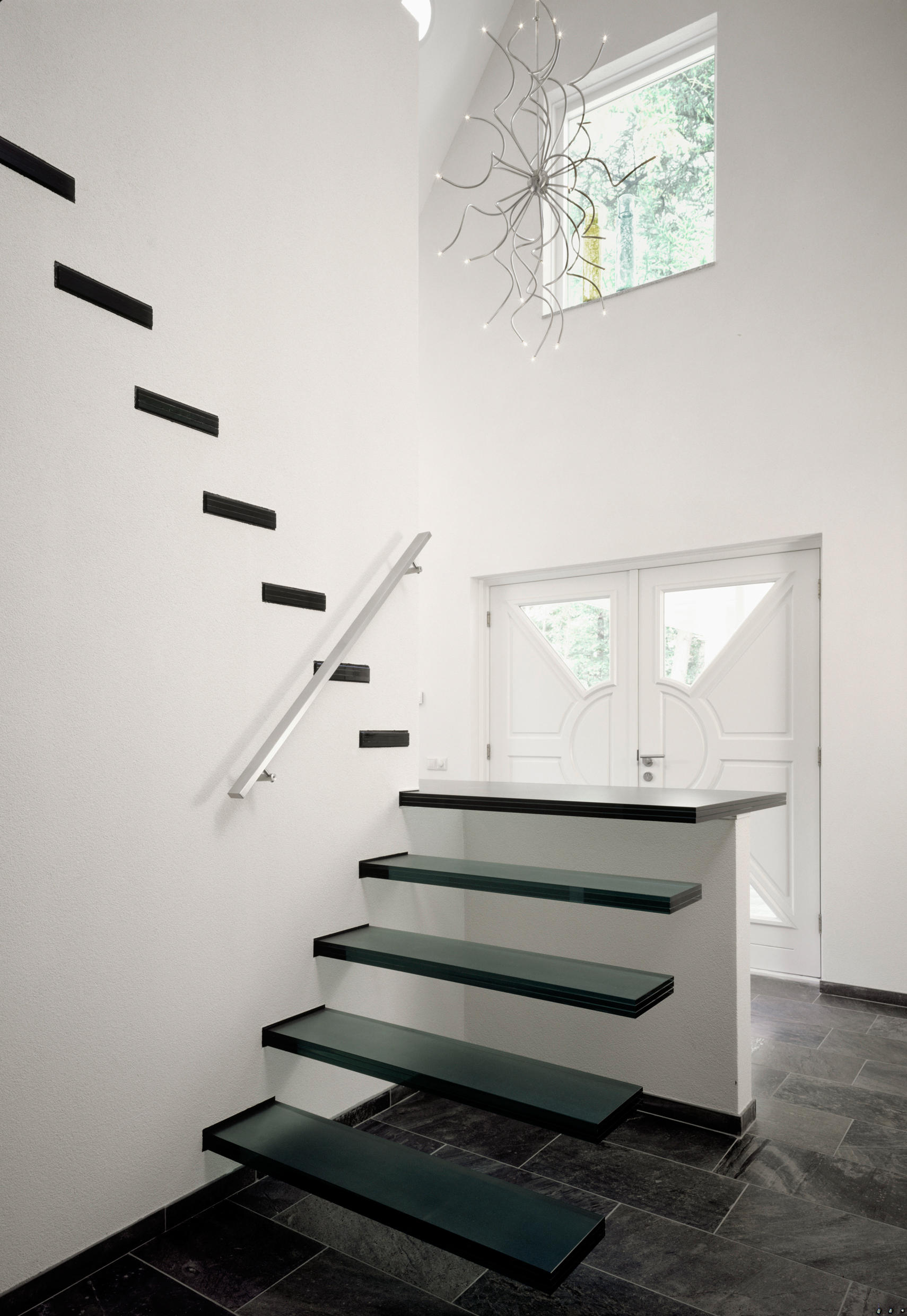 Floating Straight Stairs Glass Tre 107 Staircase