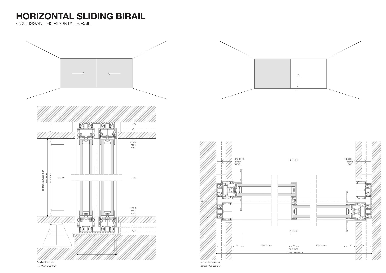 Coulissant horizontal baies vitr es de otiima architonic for Dimensions baies vitrees