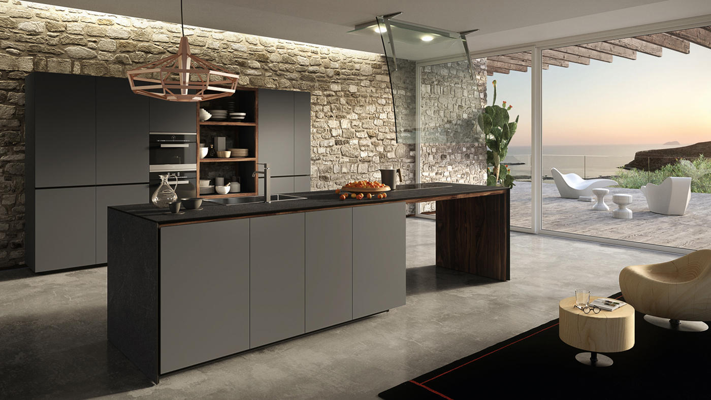Forma mentis lacquered door island kitchens from valcucine