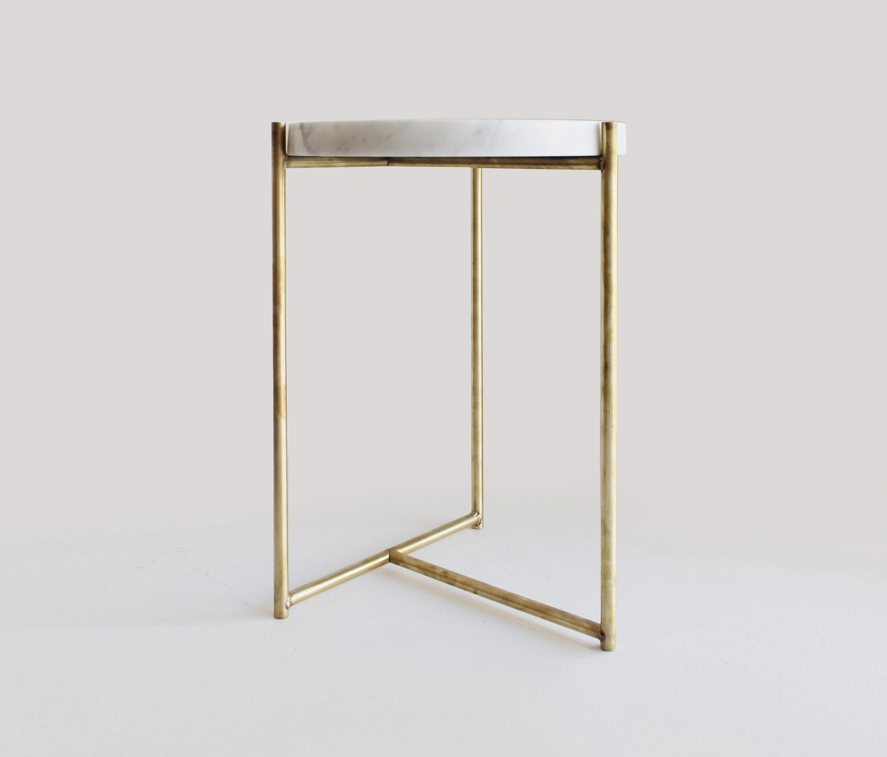 Oliver Marble Tray Side Table Brass Side Tables From