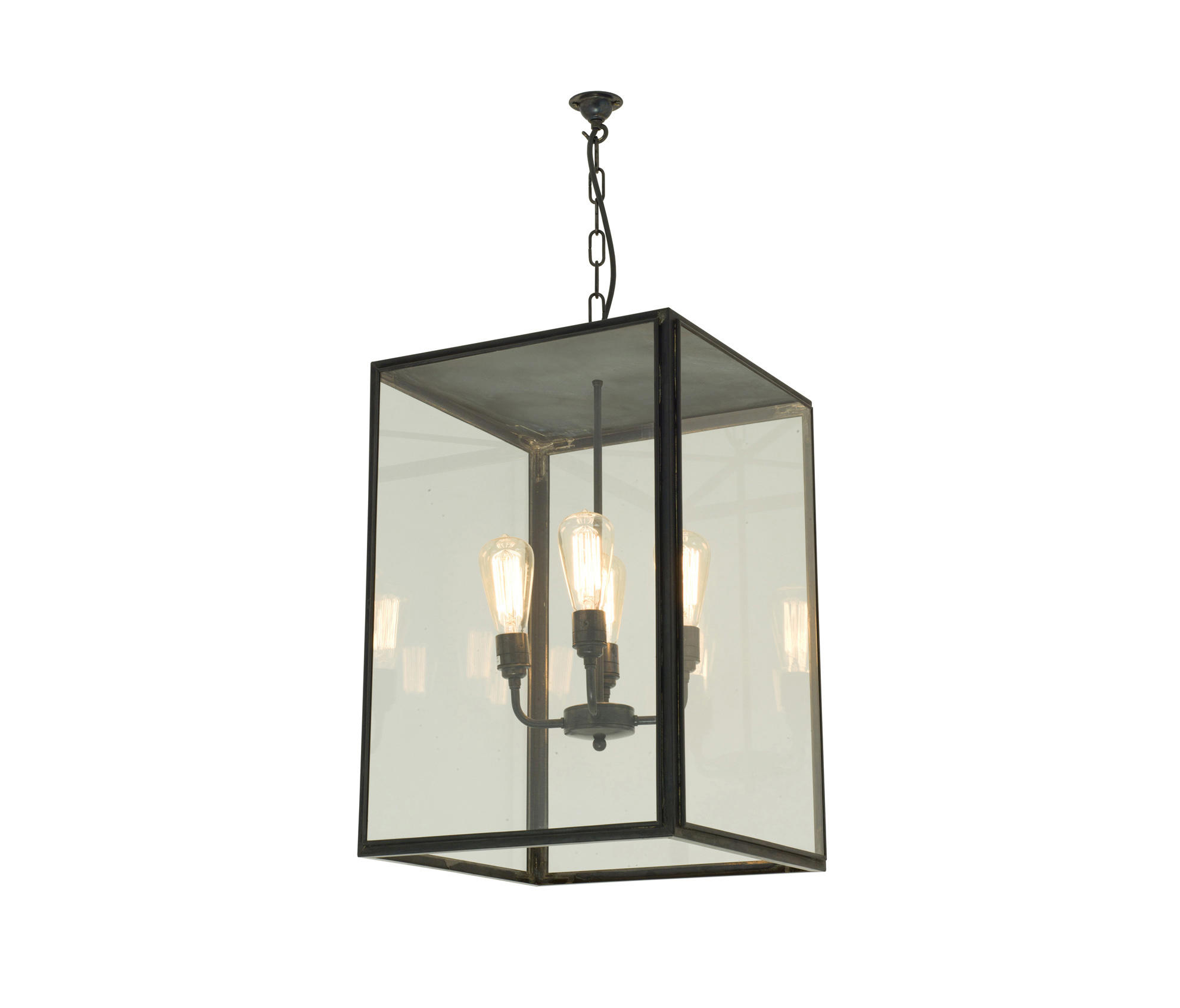 7638 Square Pendant Xl 4 L H Closed Top Weathered Br