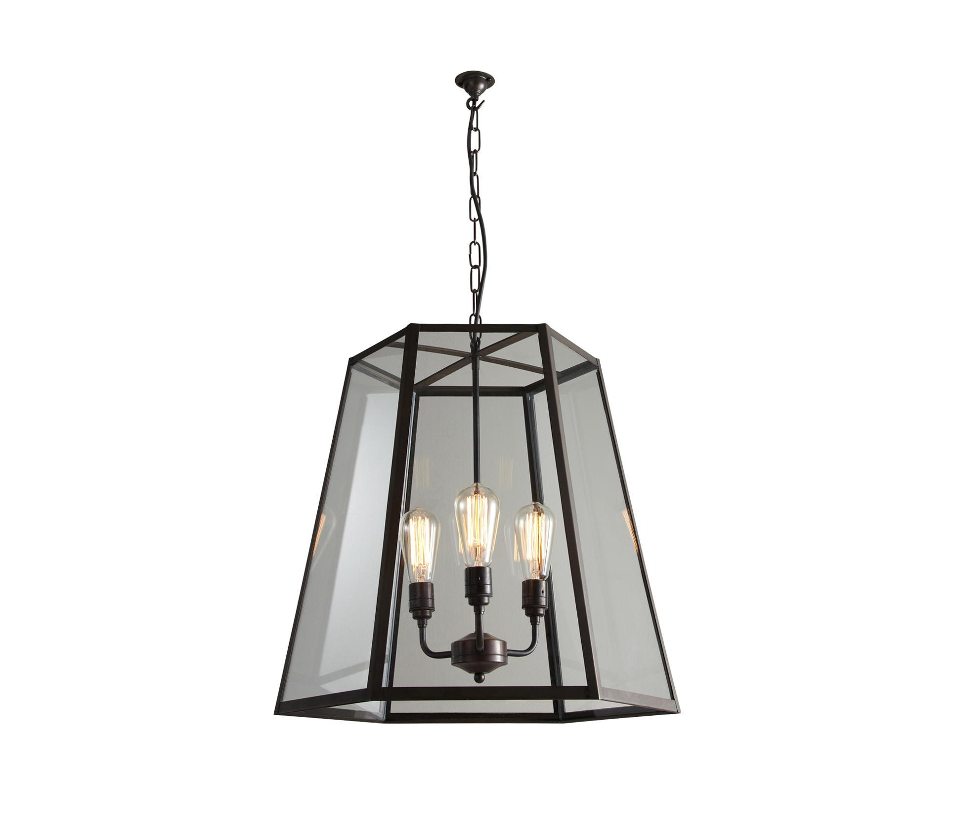 7651 Hex Pendant Extra Large Weathered Brass Clear Glass By Original BTC