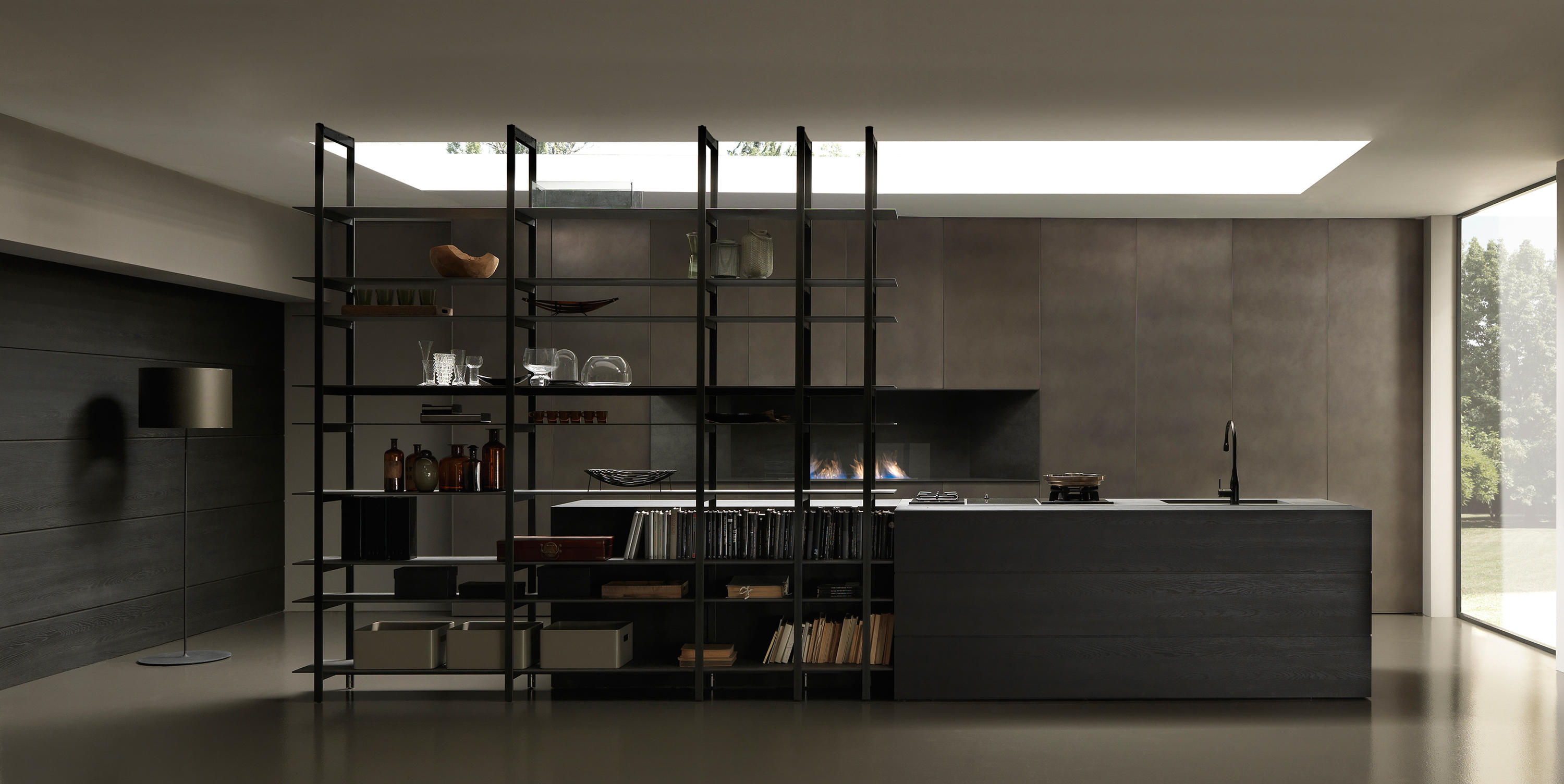 Blade 1 island with shelving unit fitted kitchens from for Libreria in ferro