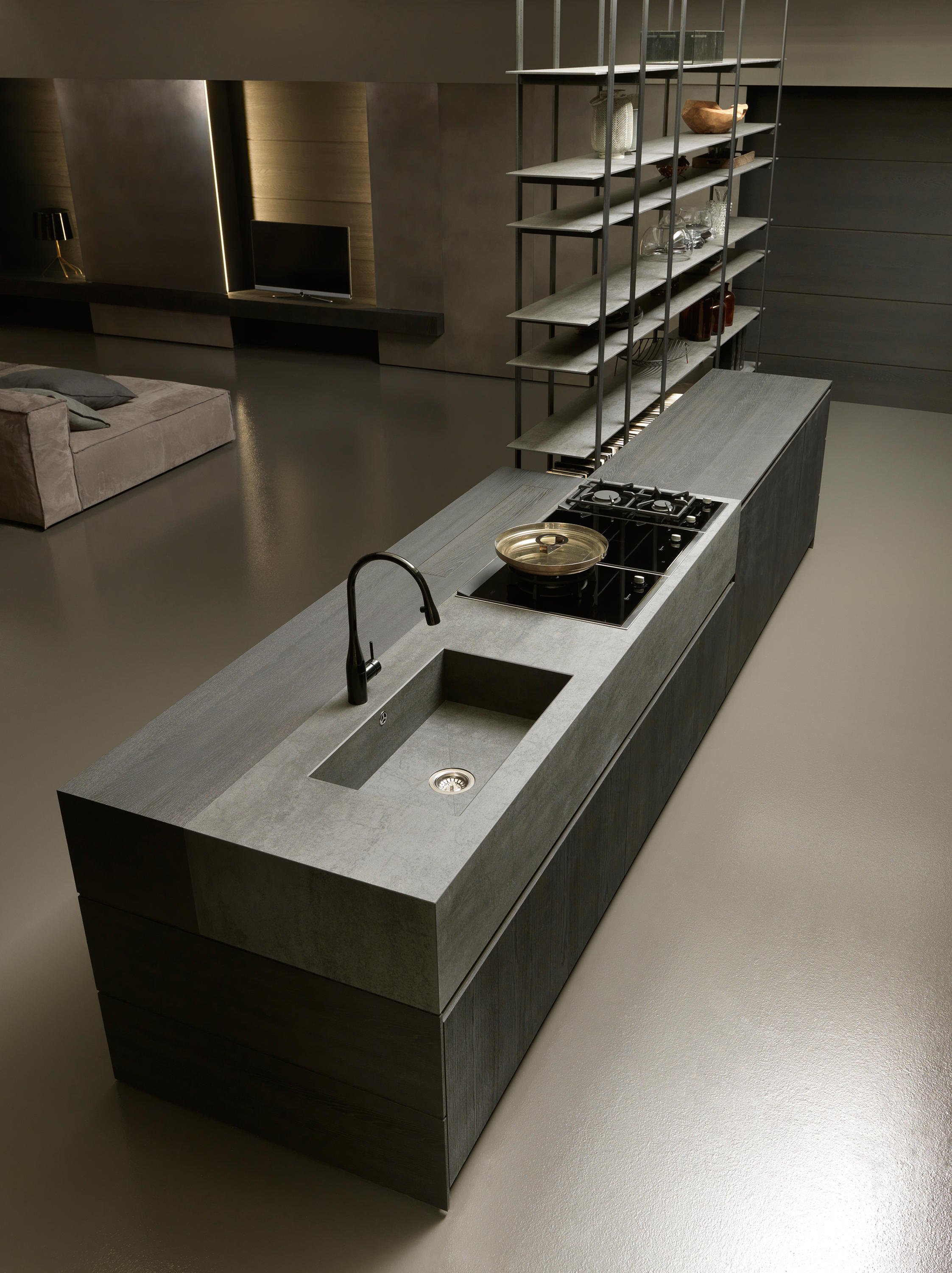 ... Blade 1 island with shelving unit by Modulnova | Fitted kitchens