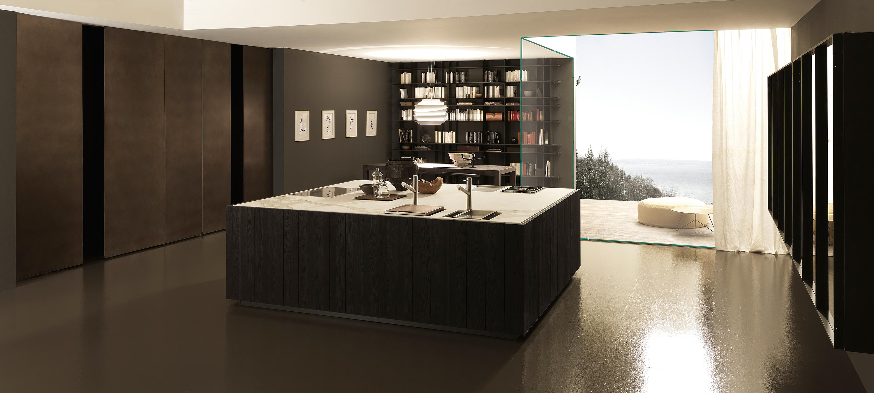 Float 1 Square Island In Rovere Fumo Fitted Kitchens