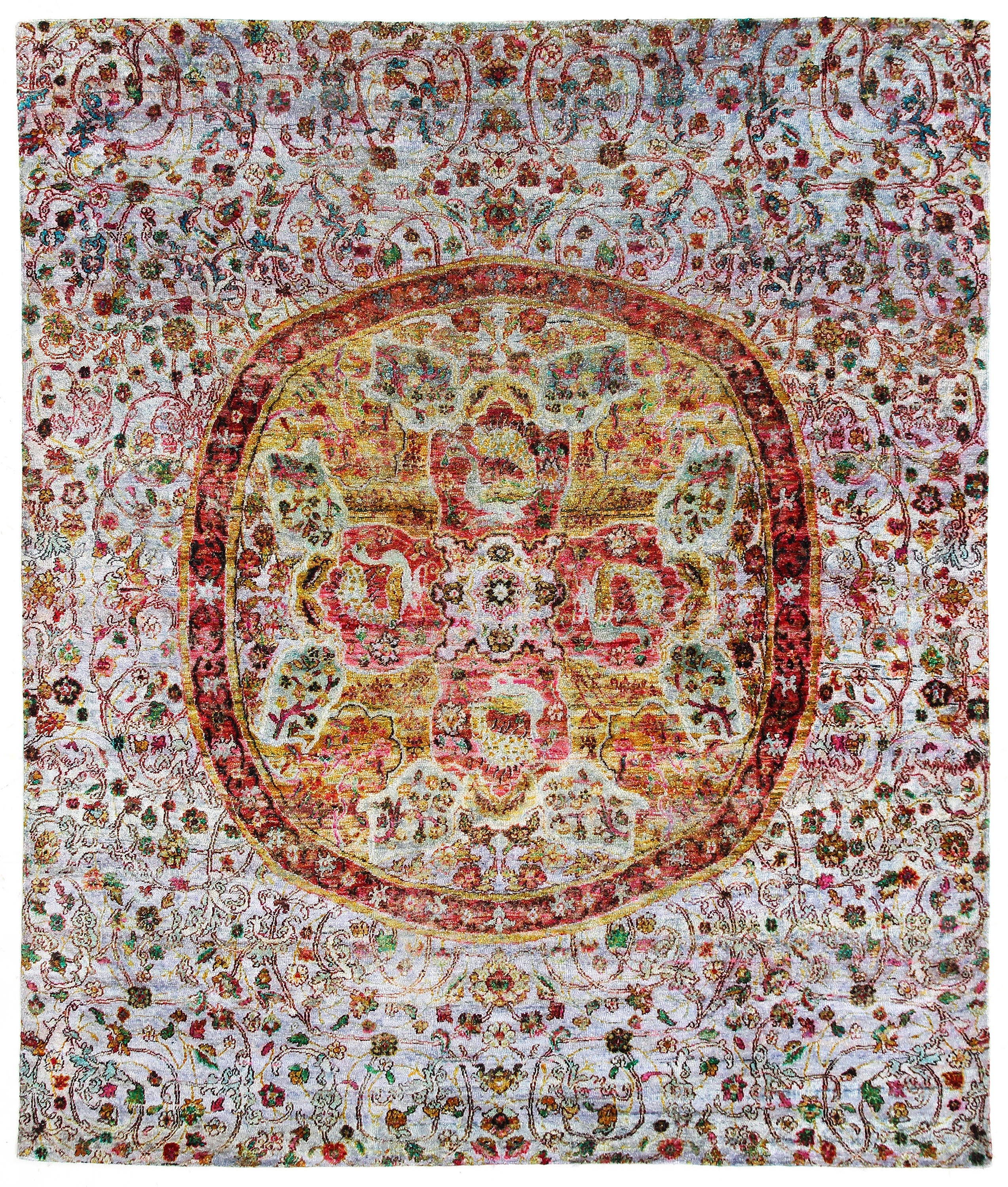 Kundan Pure Silk Classical Persian Medallion Rugs