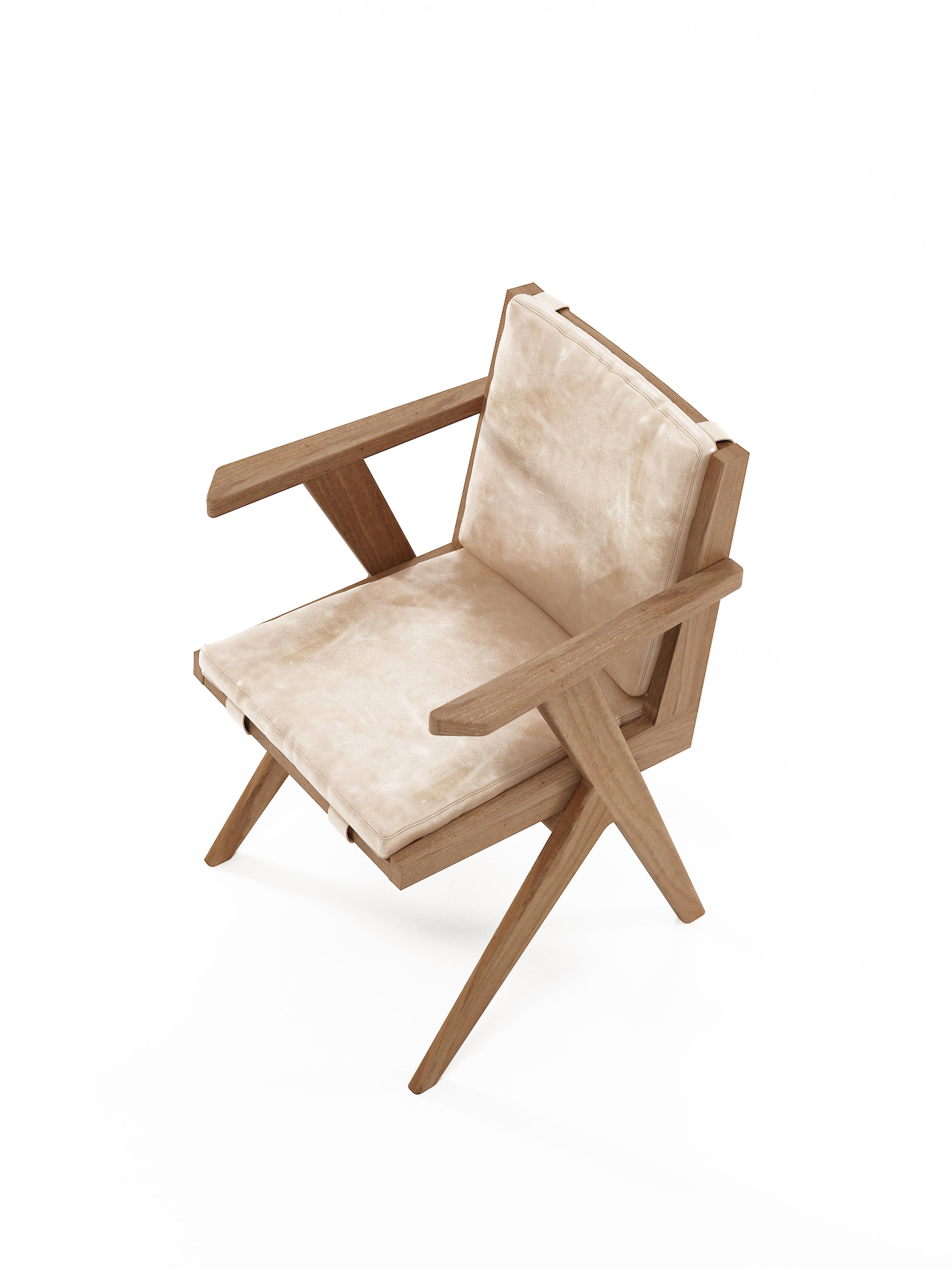 Tribute armchair with leather aged cream chairs from for Cream armchair