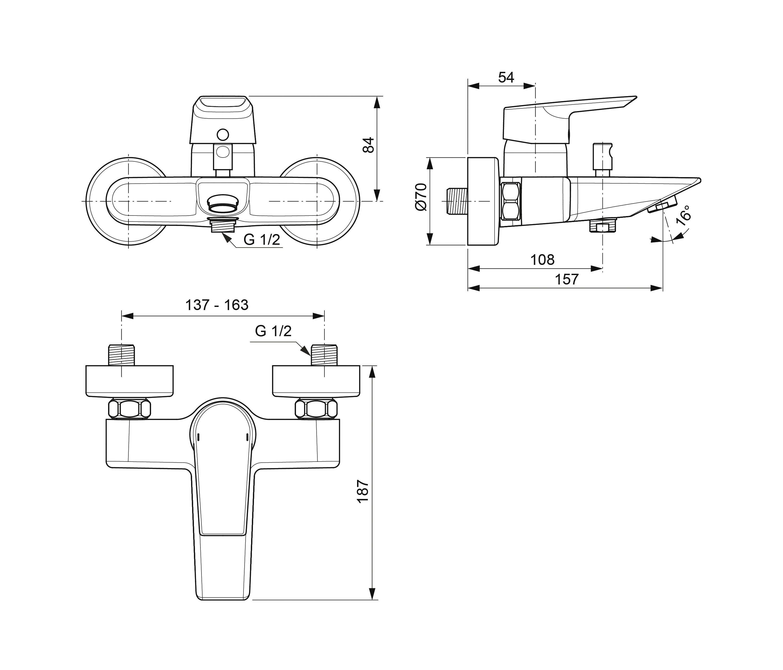 Tesi badearmatur ap aufputz rubinetteria per vasche da bagno ideal standard architonic - Vasche da bagno ideal standard ...