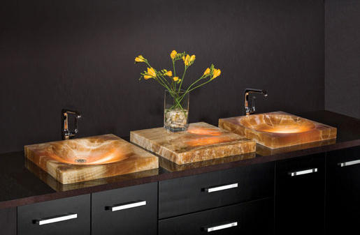 ... SYNC Drop In Vessel Sink, Amber Onyx By Stone Forest | Wash Basins
