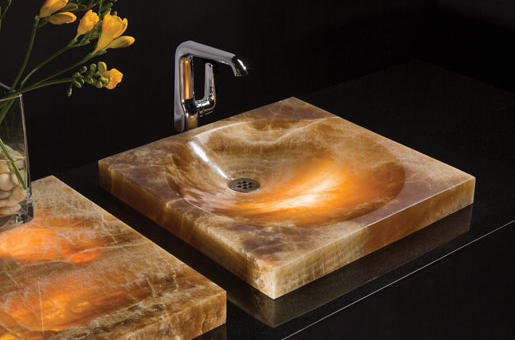 Sync drop in vessel sink amber onyx wash basins from for Onyx vessel sinks
