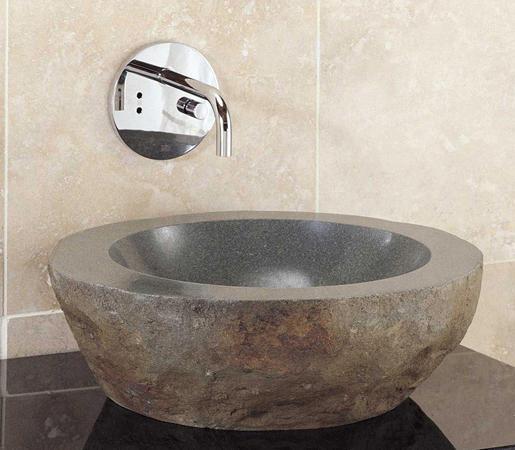 Natural Vessel Sink, Grey Granite By Stone Forest | Wash Basins