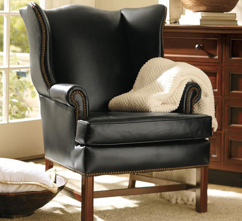 thatcher leather wingback chair by distributed by inc to the trade