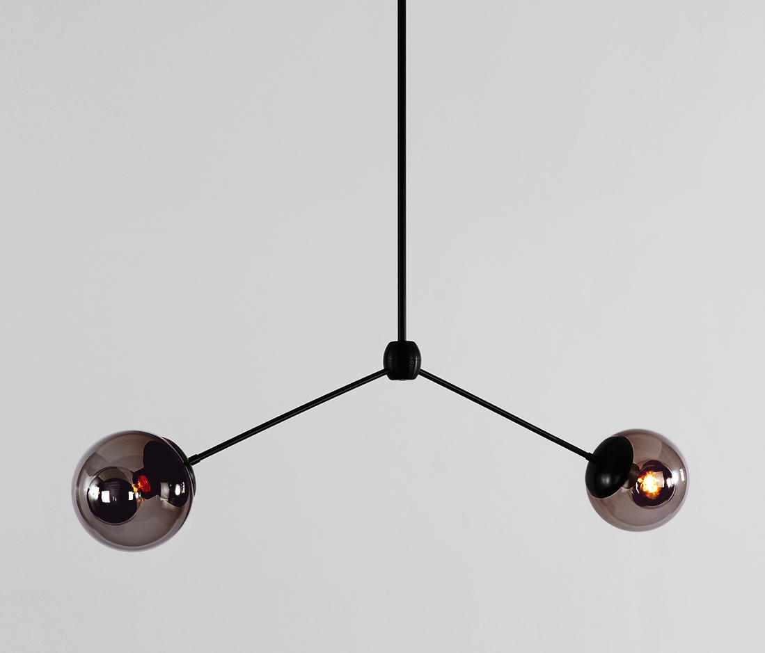 modo pendant 2 globes black smoke dark suspended lights from roll hill architonic. Black Bedroom Furniture Sets. Home Design Ideas