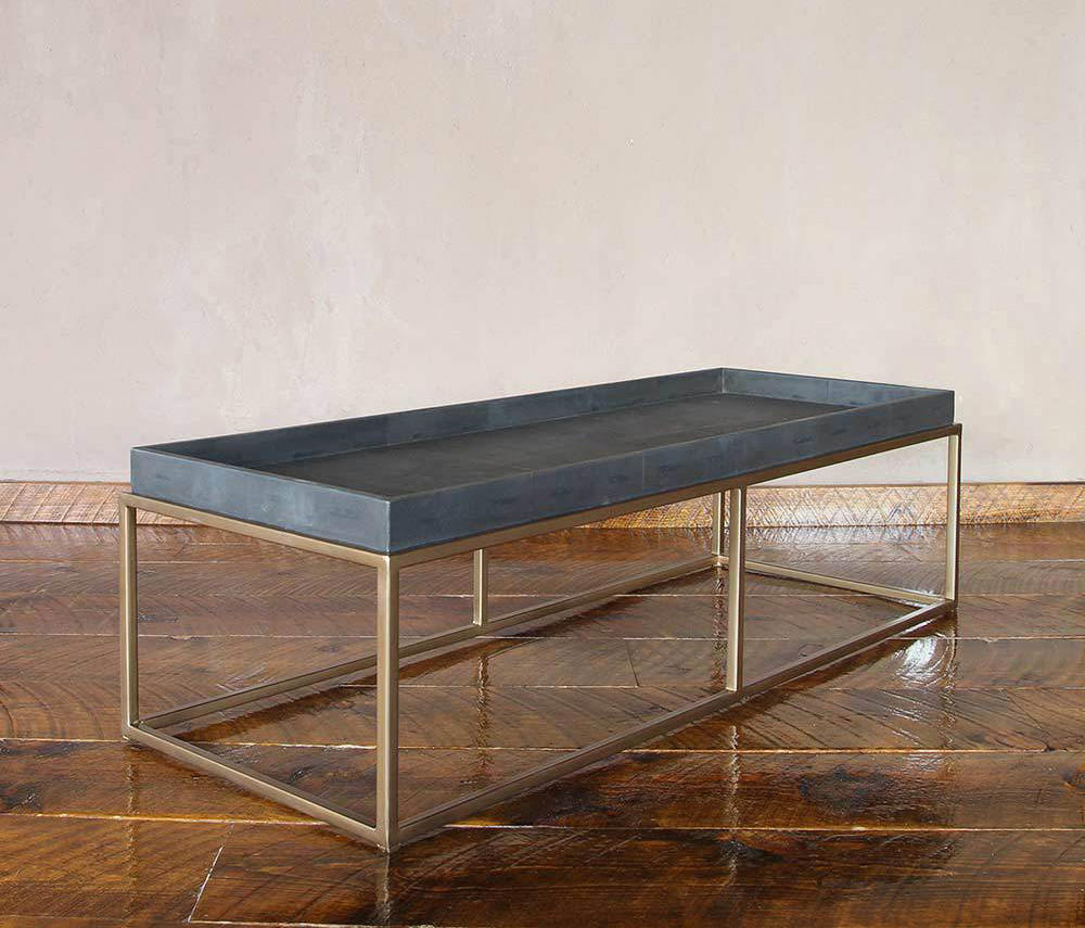 ... Brentwood Leather And Brass Cocktail Table By Pfeifer Studio | Coffee  Tables ...