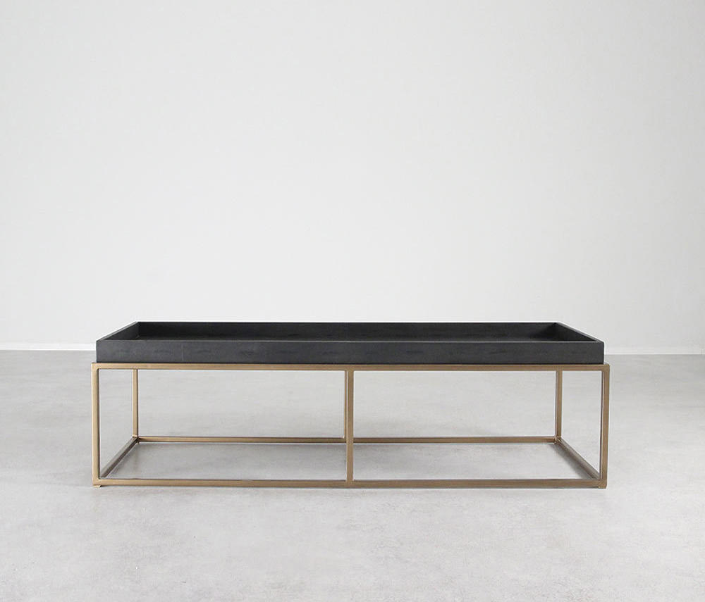 Brentwood Leather And Brass Cocktail Table By Pfeifer Studio | Coffee Tables  ...