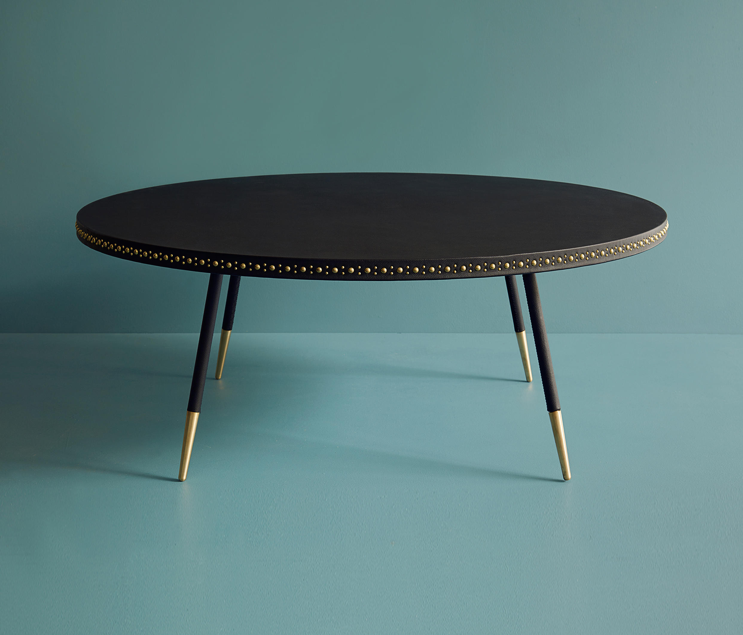 Stud leather coffee table lounge tables from bethan gray for Coffee table with studs