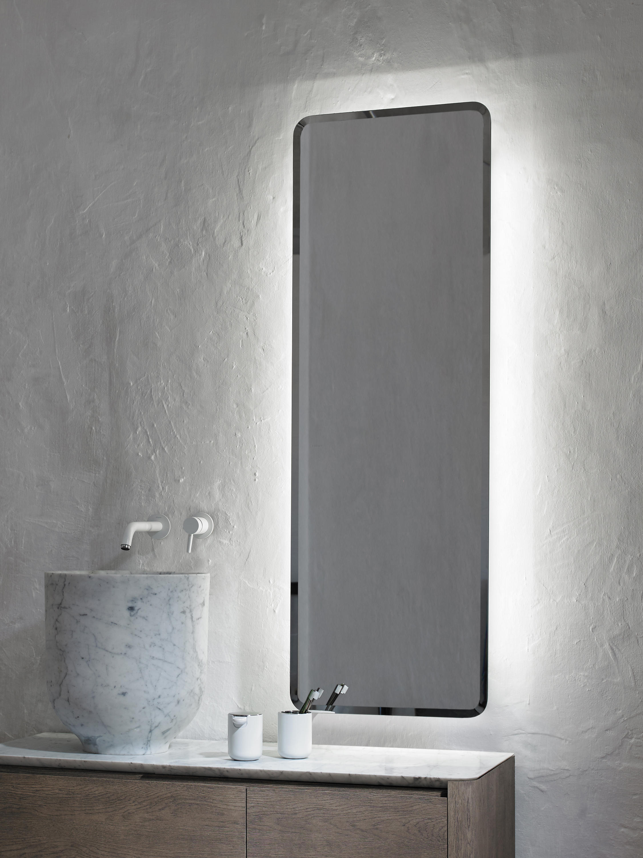 Origin wall mounted lighting mirror mirrors from inbani for Wall mounted mirror