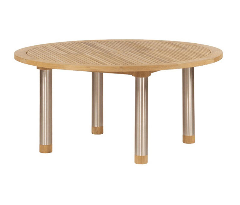 Equinox dining table 150 circular with teak top and for 144 dining table