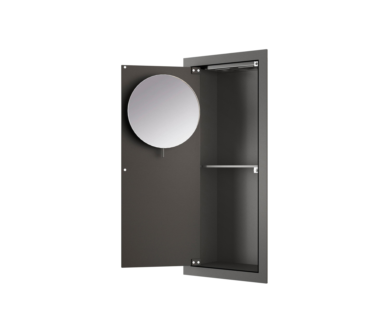 Armario empotrado vertical con espejo de aumento nero for Distribuidor roca barcelona