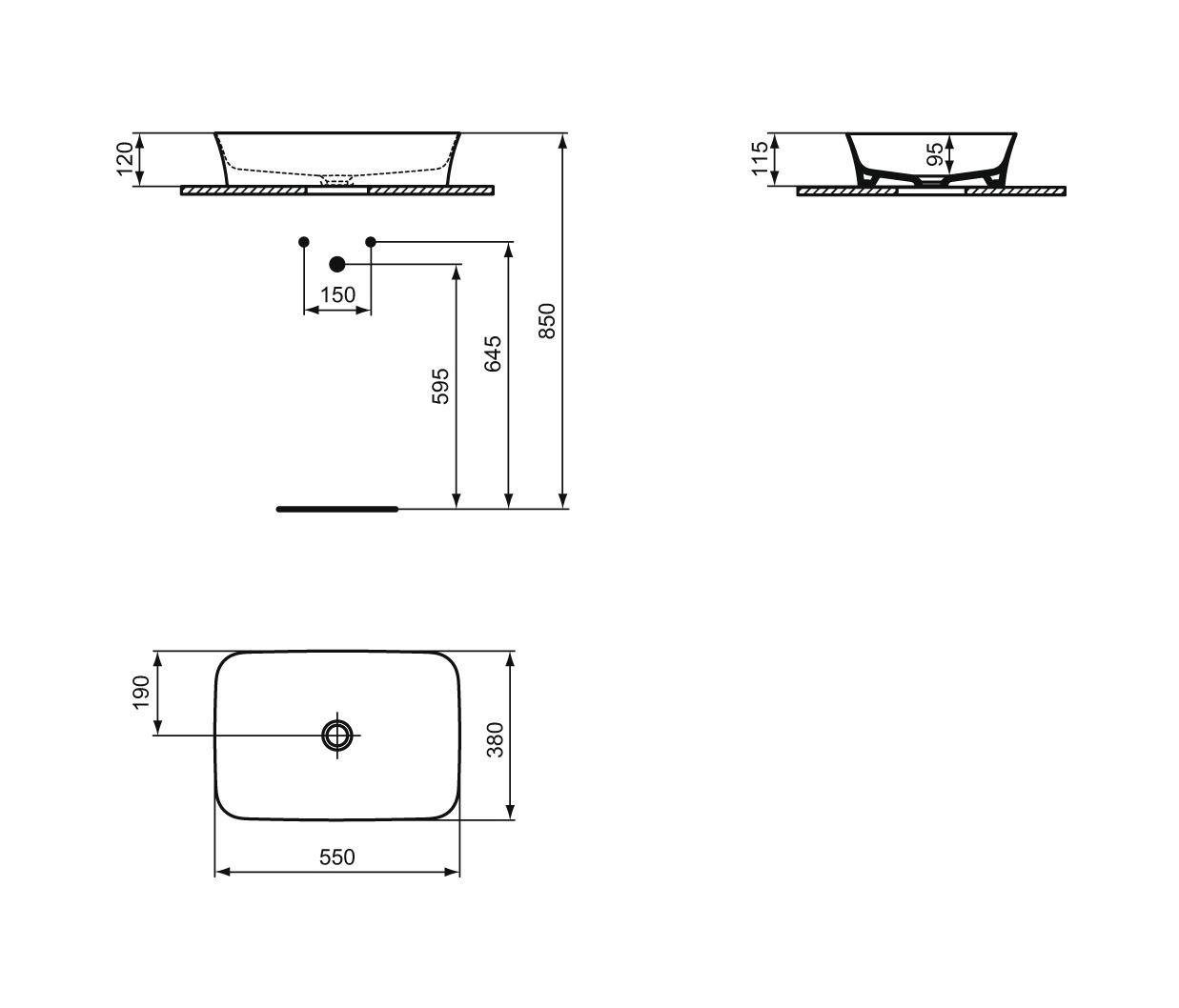 ipalyss schale ohne berlauf 550x380 mm waschtische von. Black Bedroom Furniture Sets. Home Design Ideas