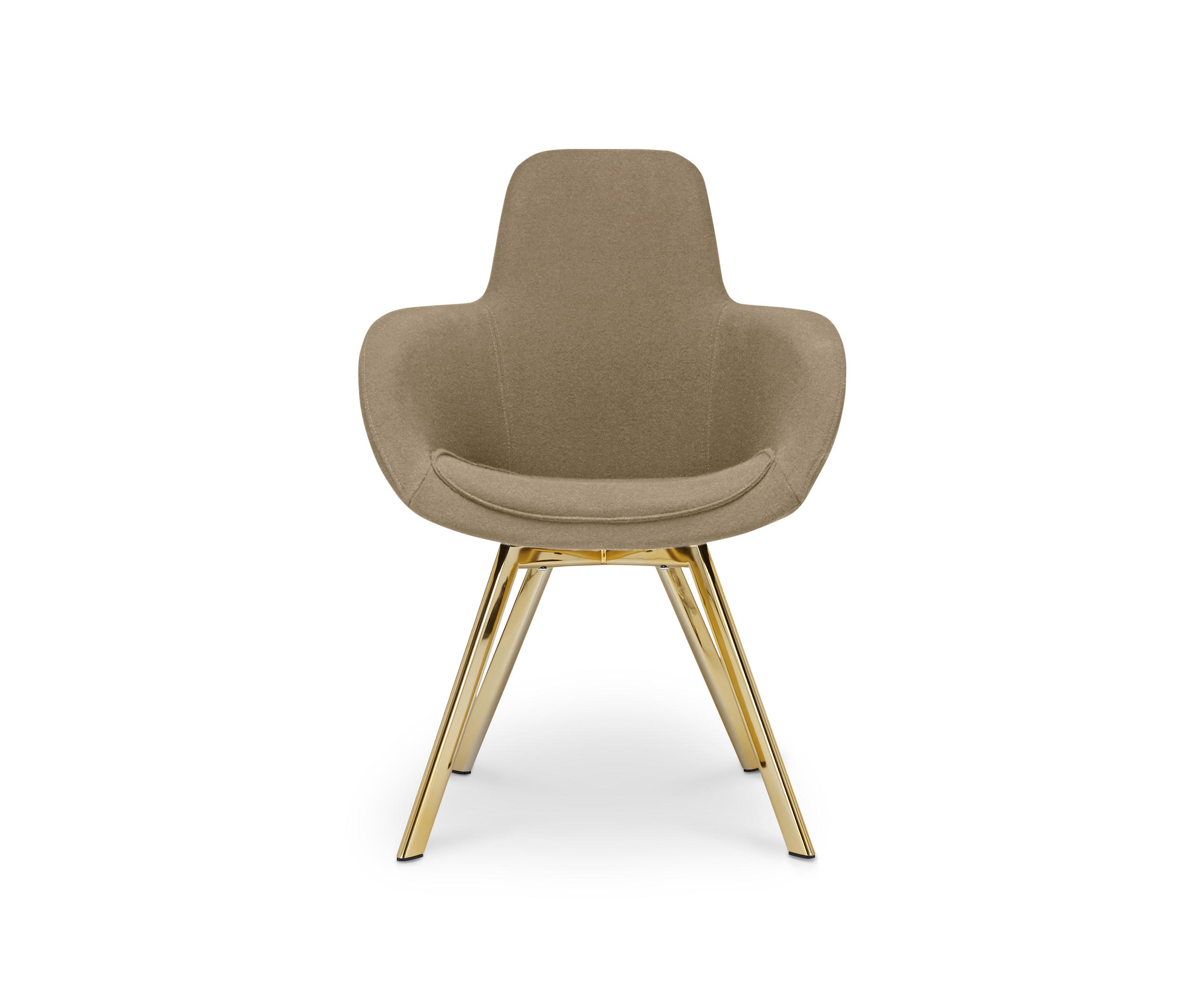 Scoop Chair High Back Brass Leg Tonus 4 Visitors Chairs