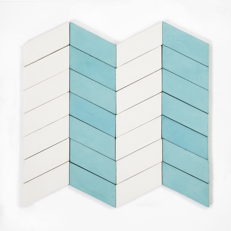 LONG-CHEVRON-PARADE-AQUA-WHITE - Concrete tiles from Granada Tile ...