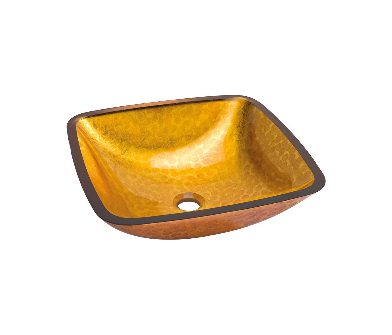 Lavabo cuadrado dorado anaranjado lavabos de dune for Lavabo cuadrado
