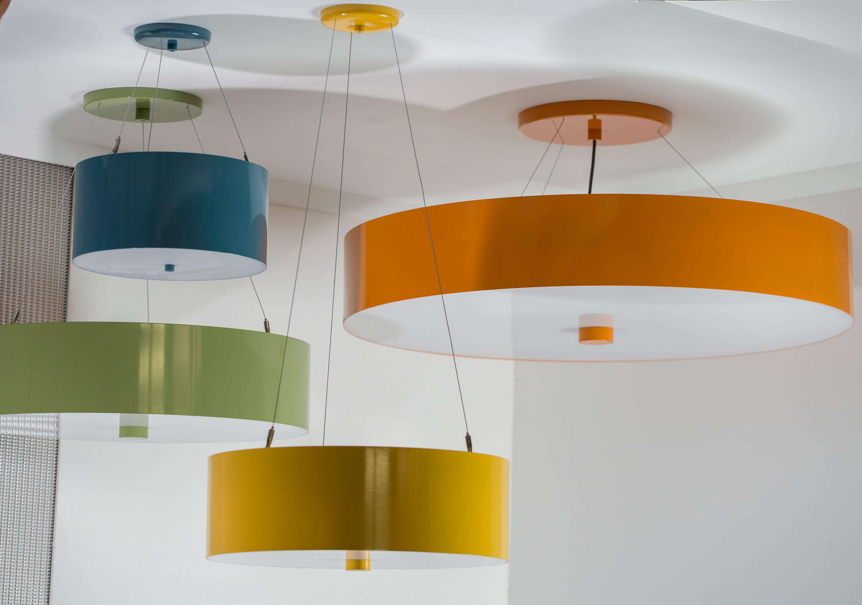 drum lighting pendant. Colored Metal Drum Pendant By Donovan Lighting | General