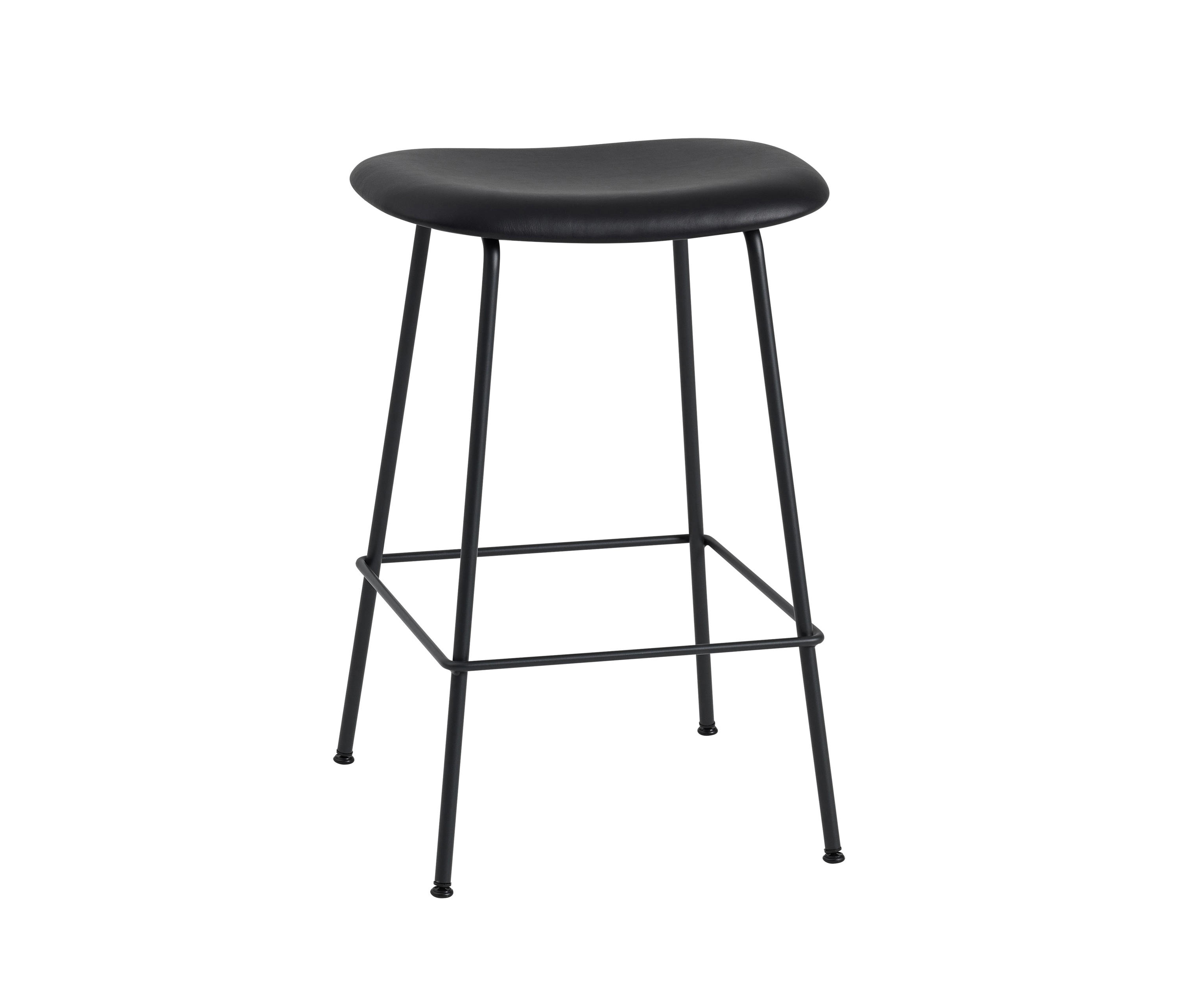 FIBER BAR STOOL | TUBE BASE - BLACK LEATHER - Barhocker von Muuto ...