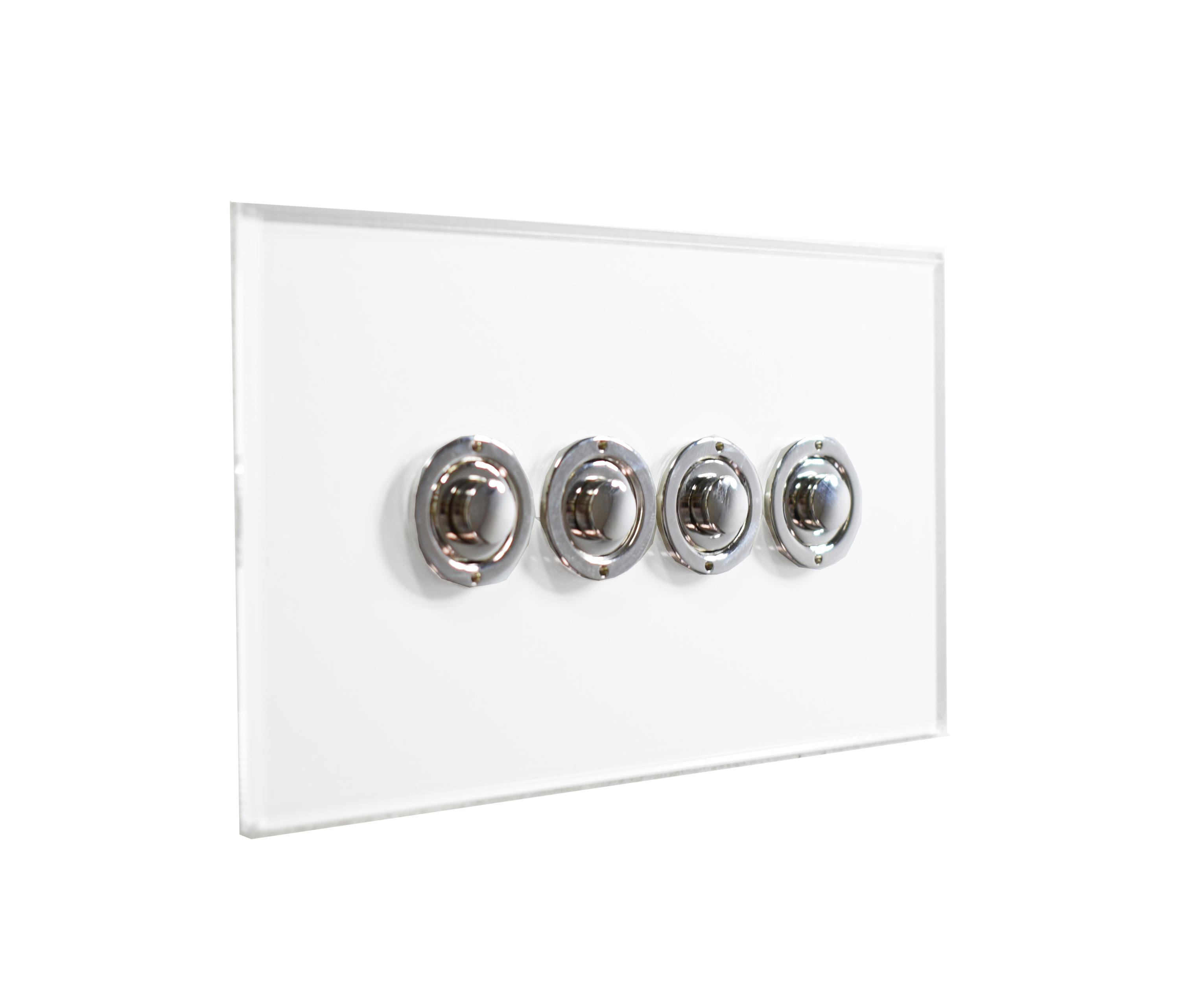 invisible lightswitch u00ae with four gang nickel button dimmer