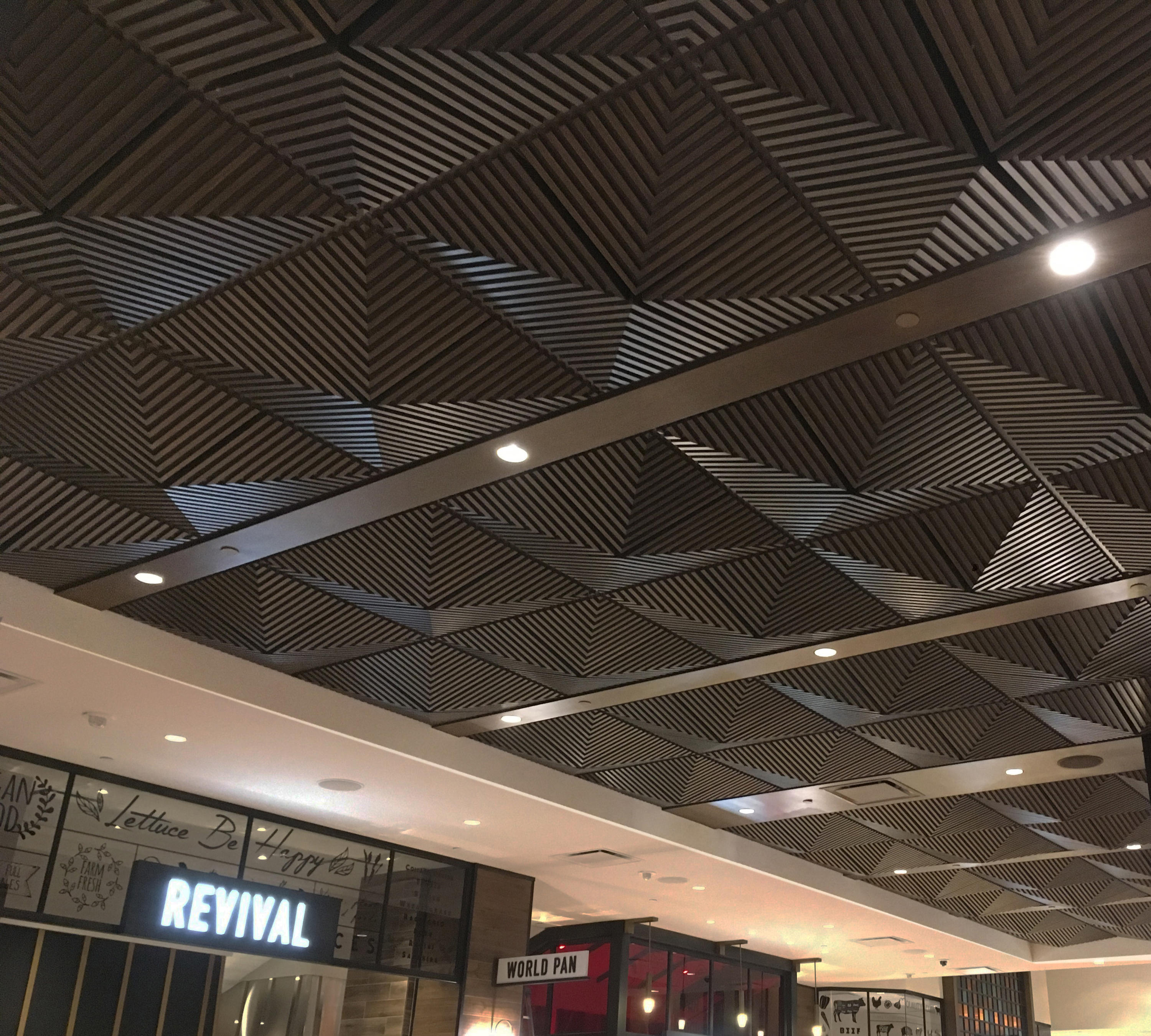 Ceiling panels pattern geometric high quality designer ceiling grooved quarter pyramid ceiling tile mineral composite panels above view inc aloadofball Gallery