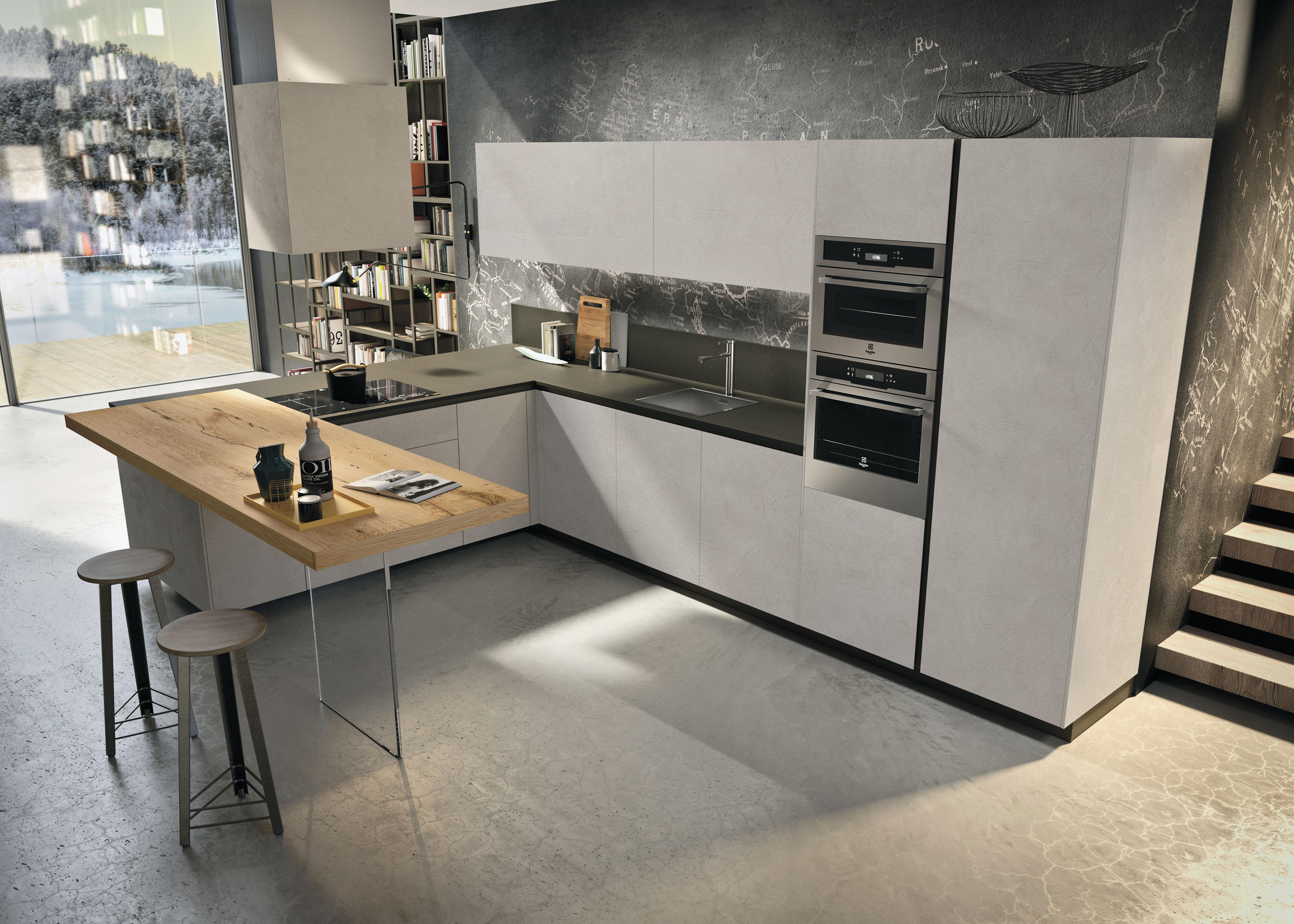 Way Resina Cenere Fitted Kitchens From Snaidero Usa