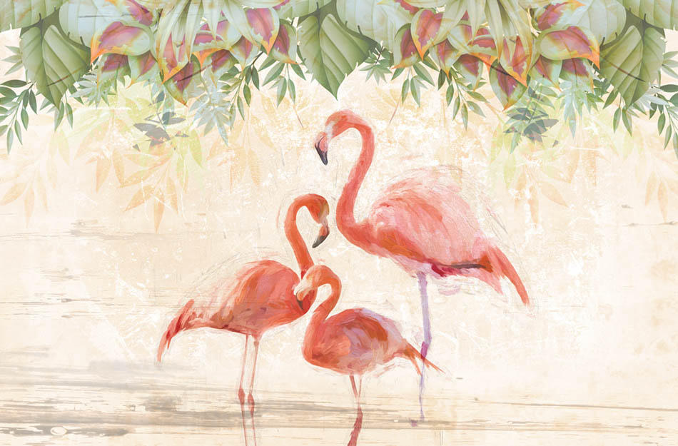 Flamingos party carta da parati carta da parati for Produttori carta da parati