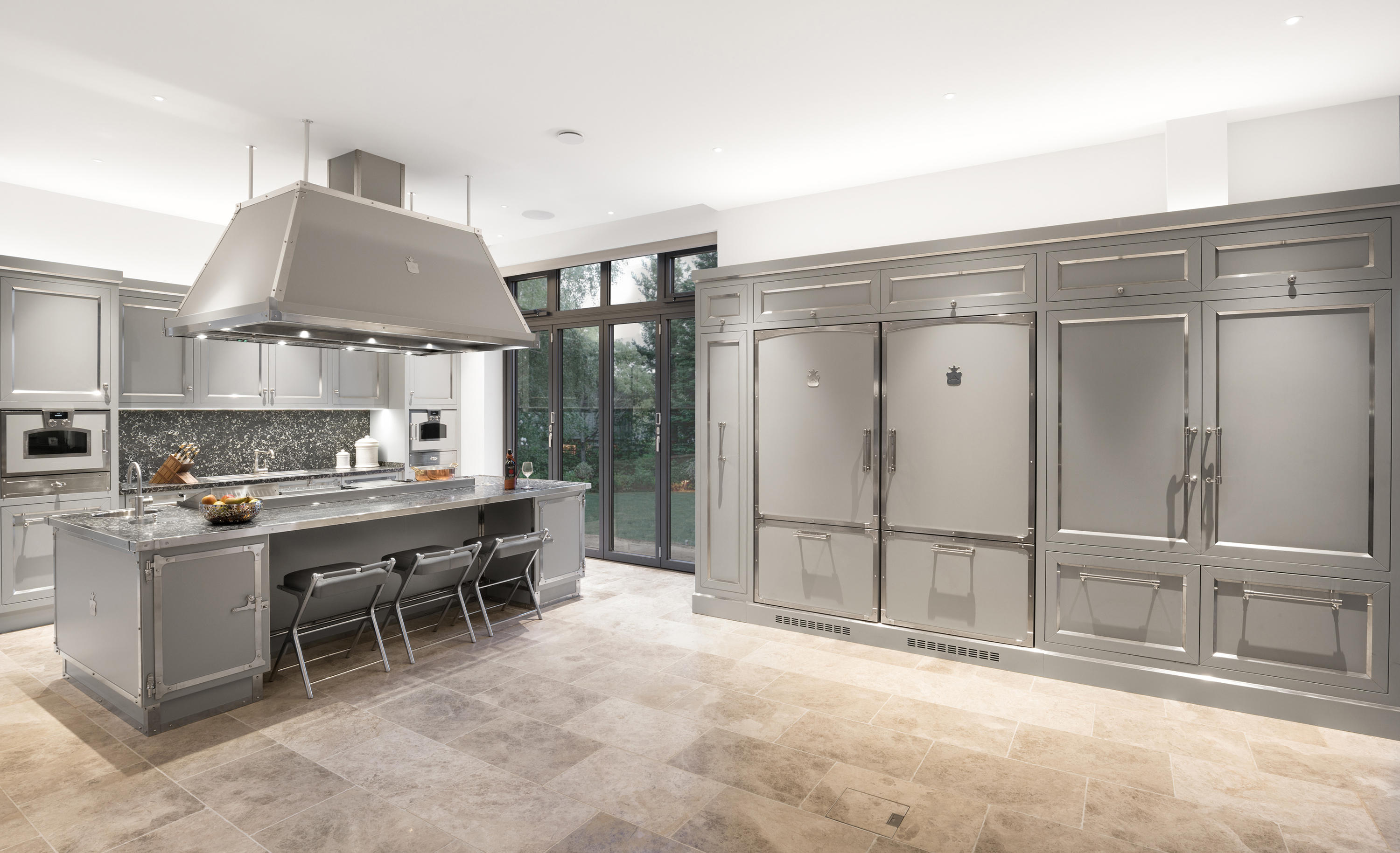 SOFT GREY NICHELED BRASS KITCHEN Fitted Kitchens From Officine - Grey fitted kitchens