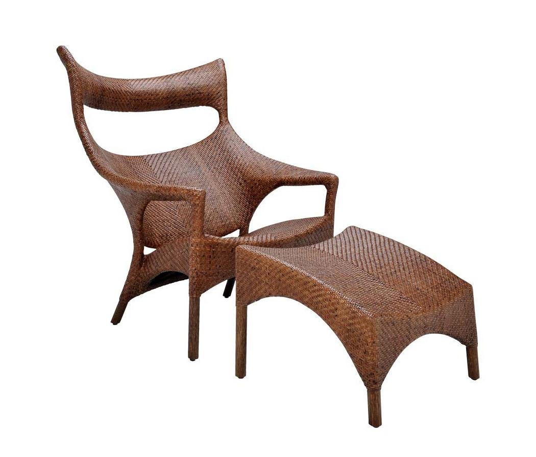Amari Rattan High Back Lounge Chair Ottoman Armchairs