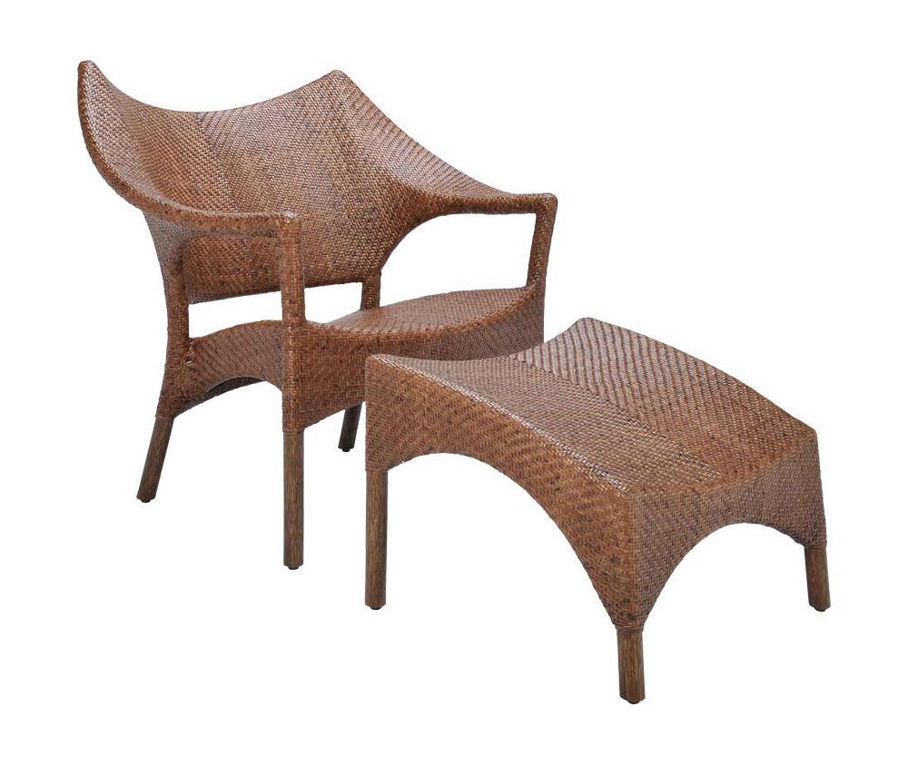 Amari Rattan Low Back Lounge Chair Ottoman Poltrone