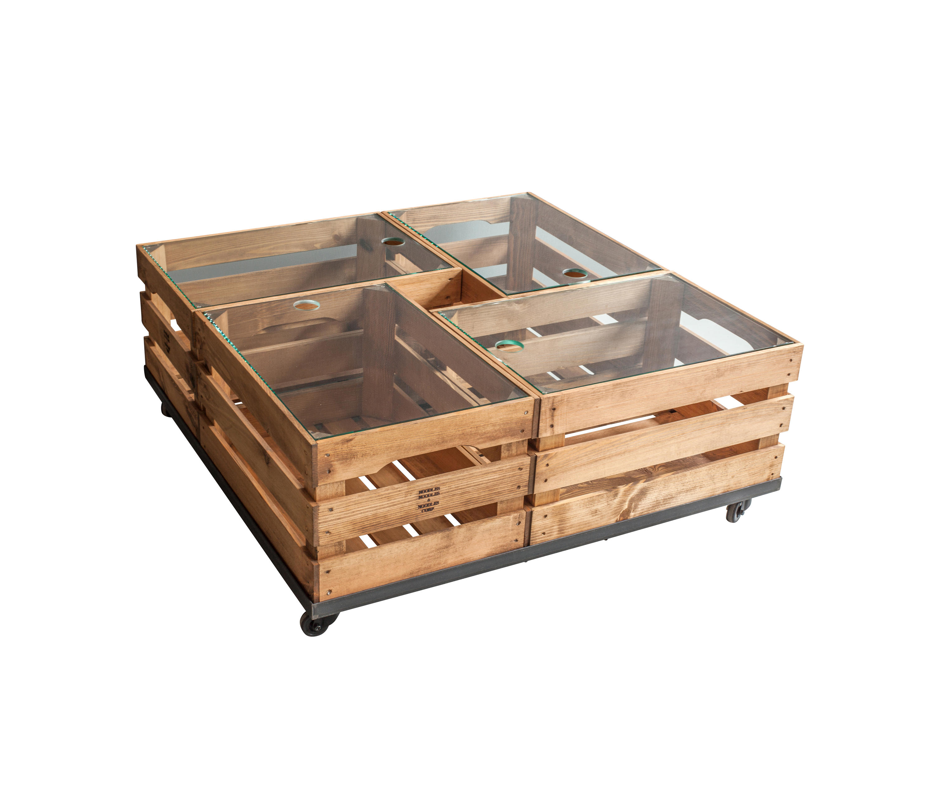 Wooden Crates Glass Table On Wheels Coffee Tables From Noodles