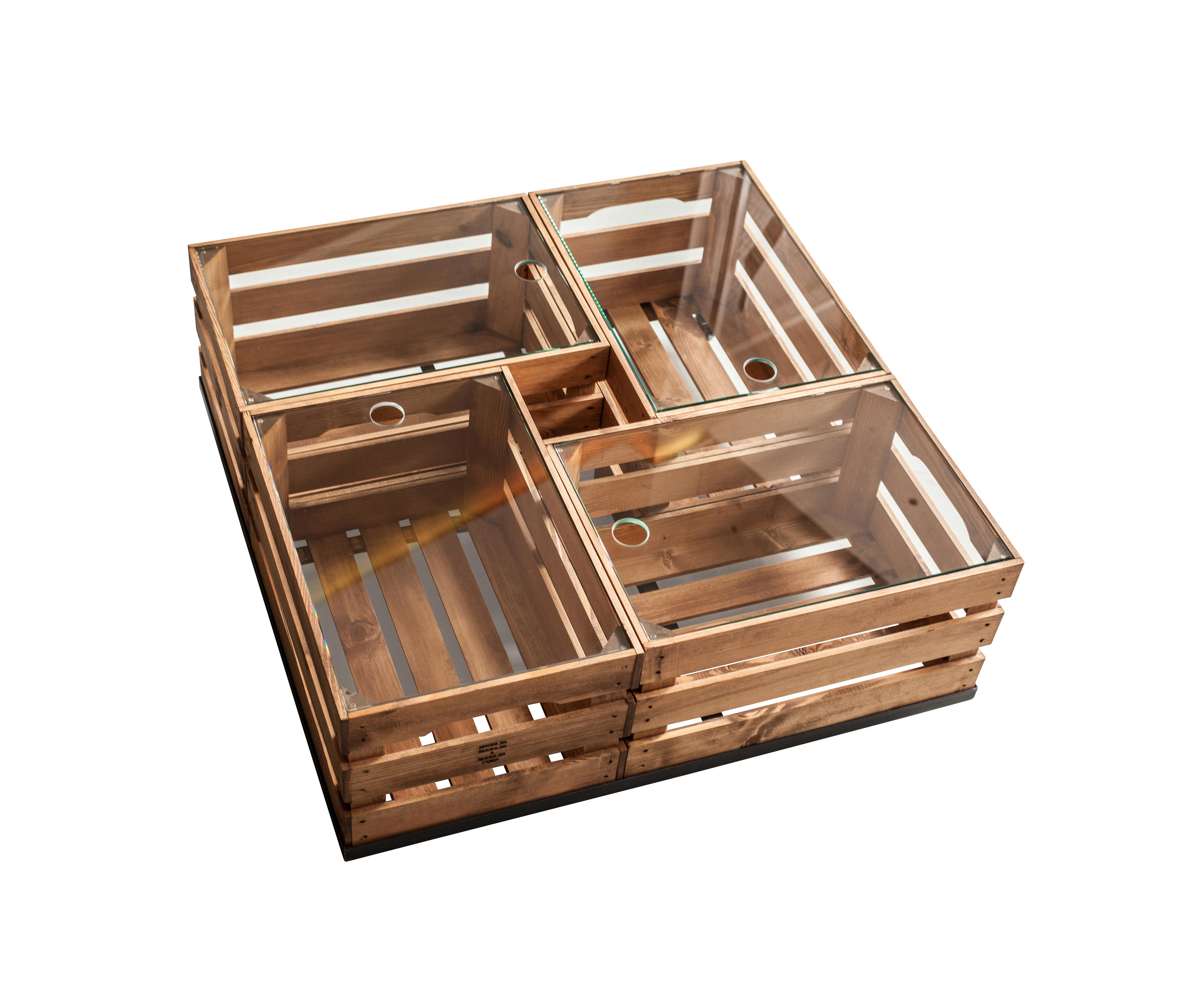 Wooden Crates Gl Table On Wheels By Noodles Coffee Tables